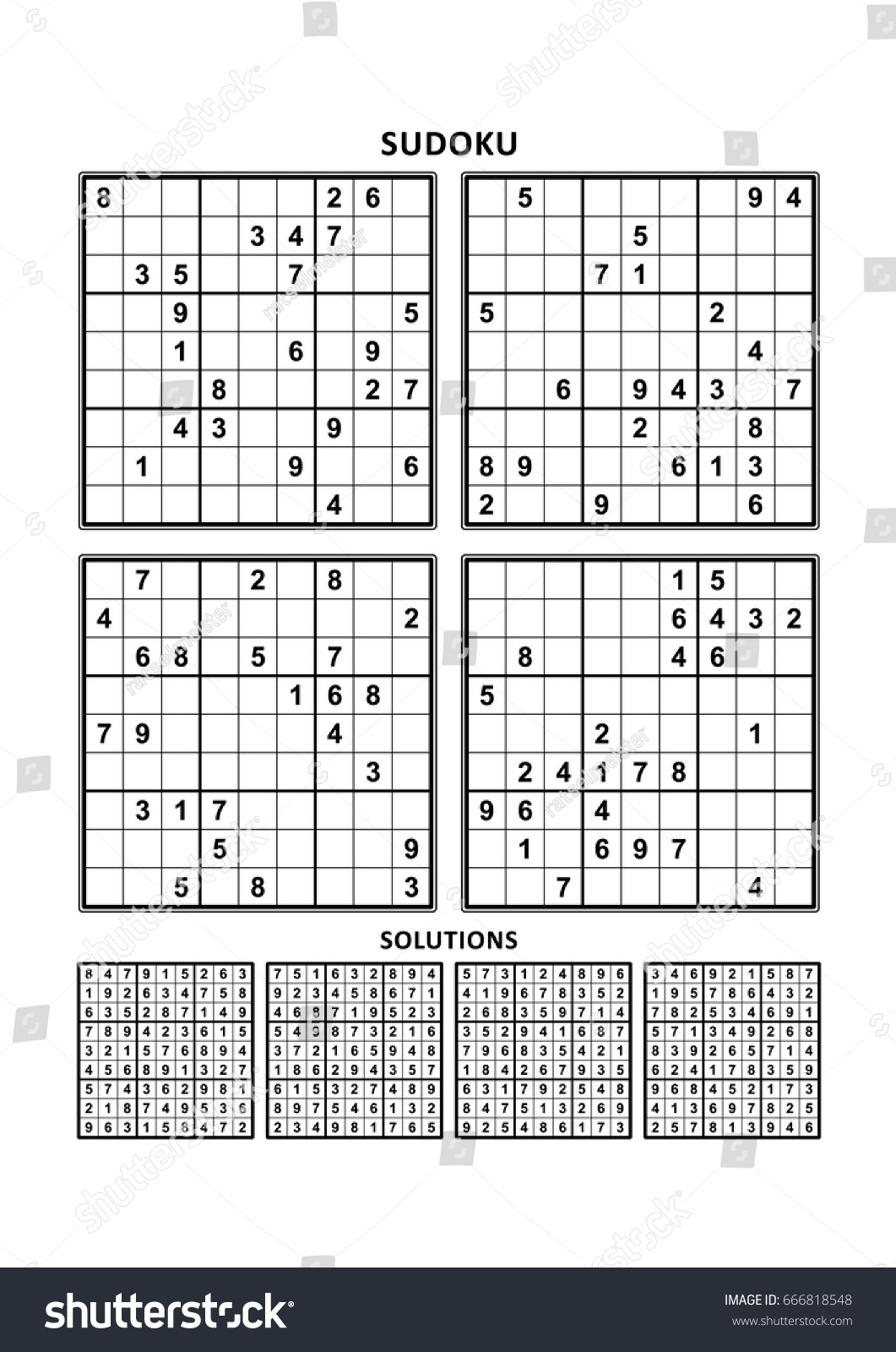 Four Sudoku Puzzles Comfortable Easy Yet Stock Vector Royalty Free