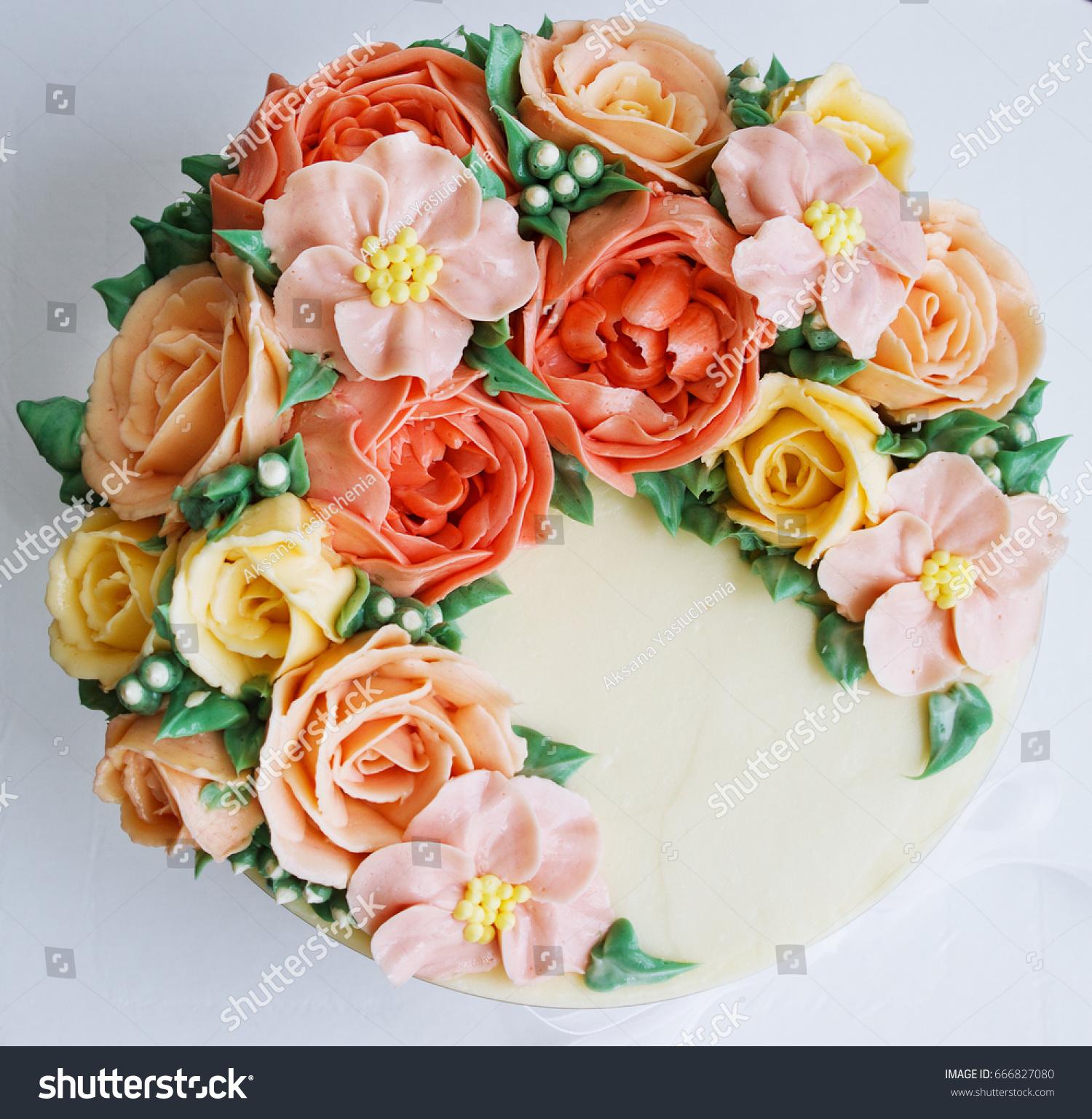 Birthday cake flowers rose on white stock photo edit now 666827080 birthday cake with flowers rose on white background izmirmasajfo