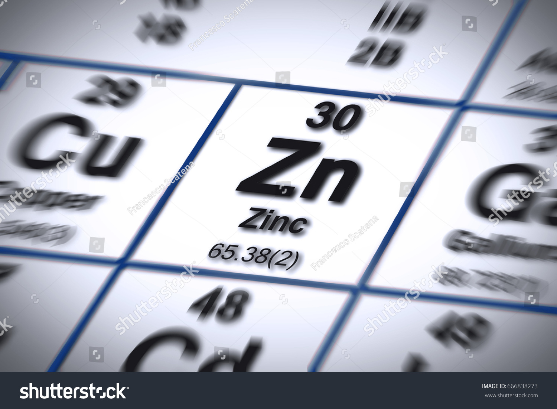 Focus On Zinc Chemical Element Important Stock Illustration
