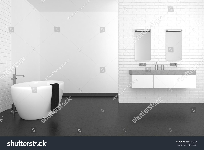 Modern Bathroom White Brick Wall Dark Stock Illustration 666854224 ...