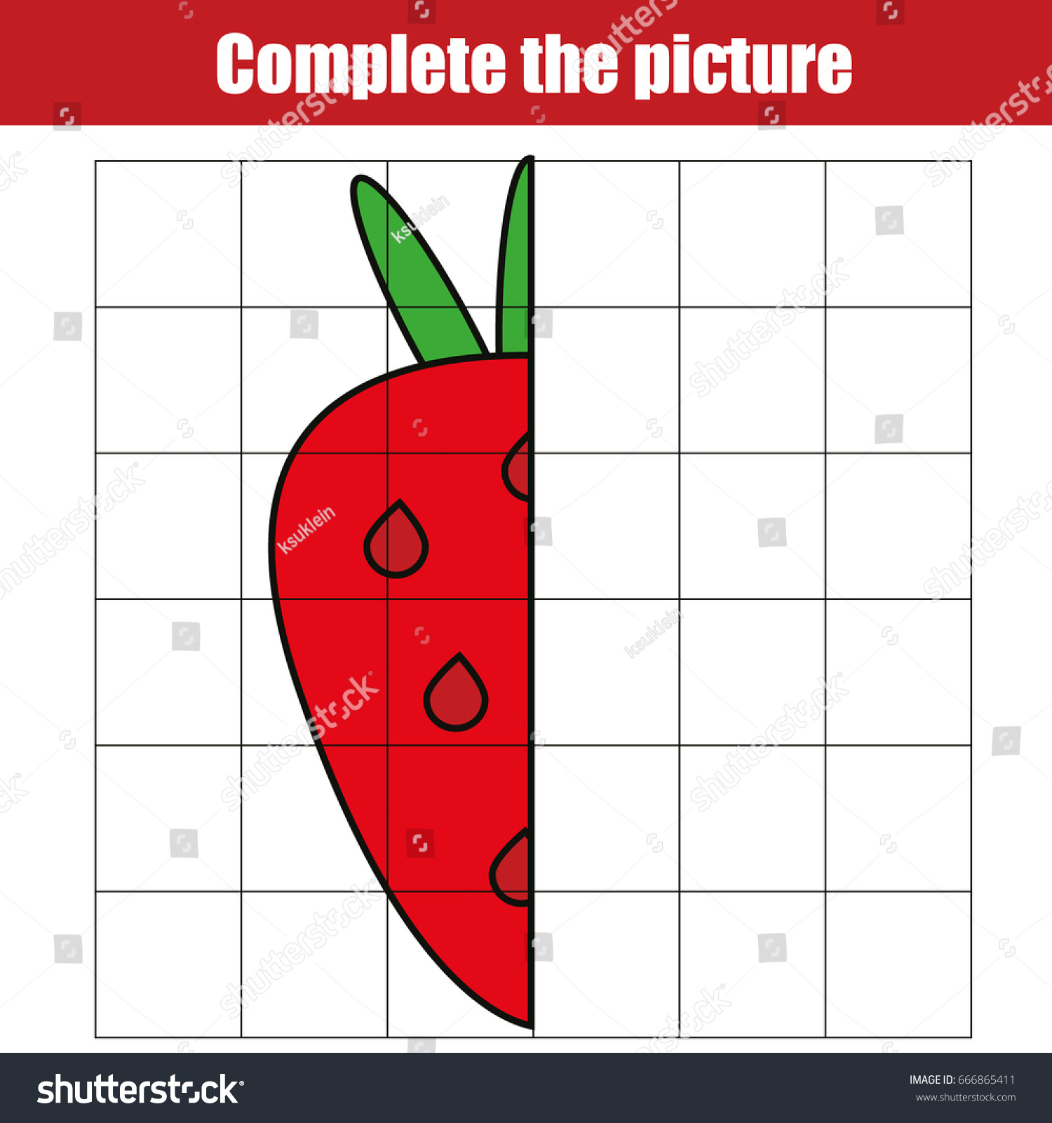 Copy By Grid Complete Picture Children Stock Vector 666865411 ...