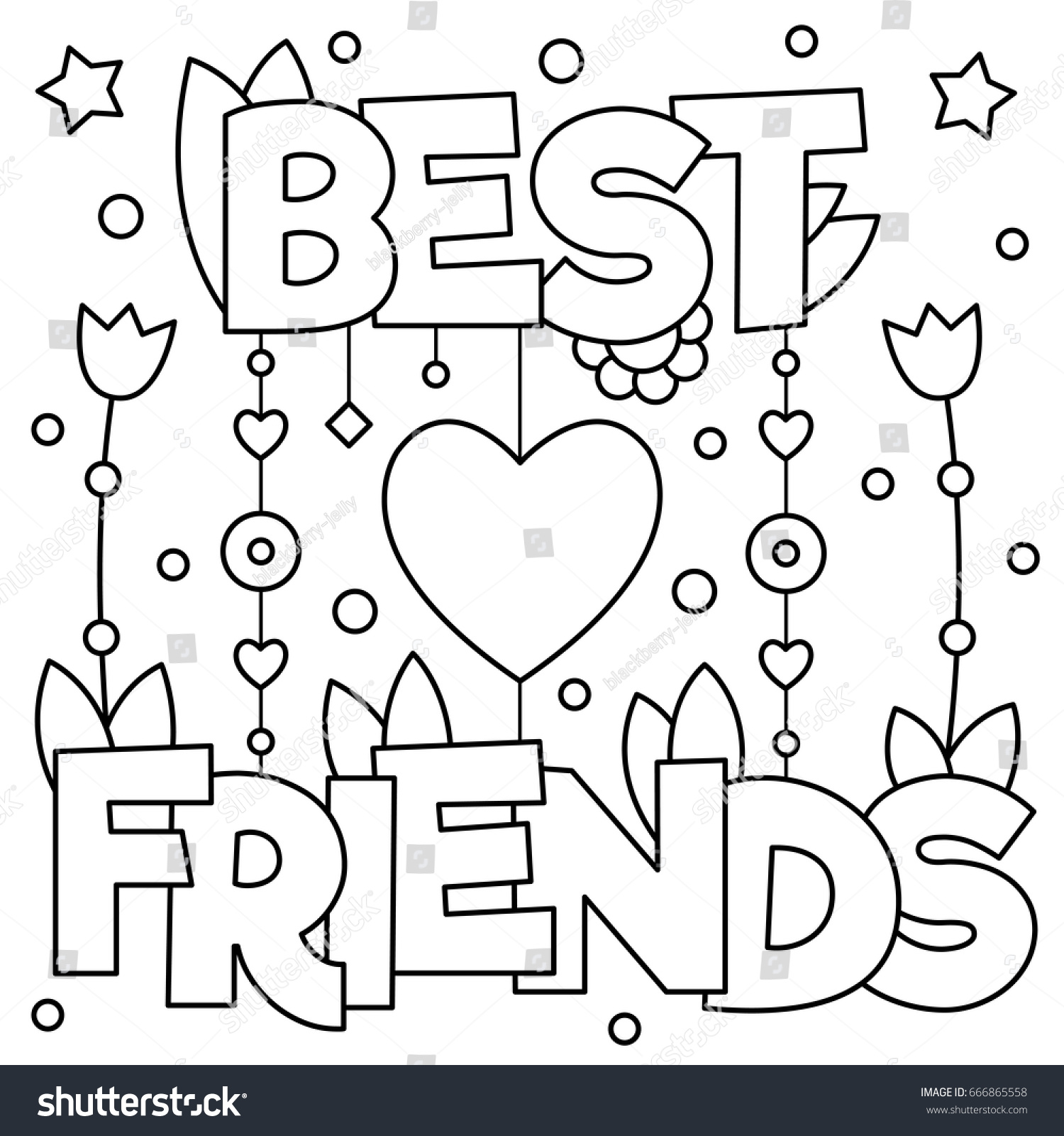 Best Friends Coloring Page Vector Illustration Stock Vector Best Friend Coloring Pages