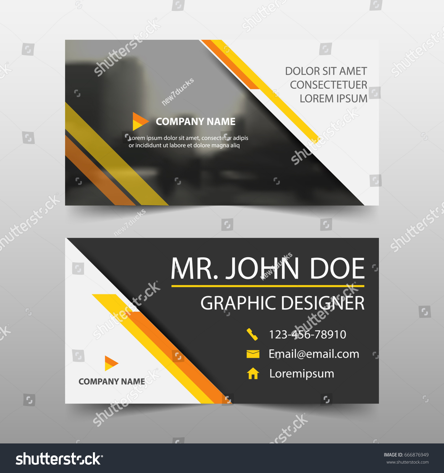 Yellow Corporate Business Card Name Card Stock Vector 666876949 ...