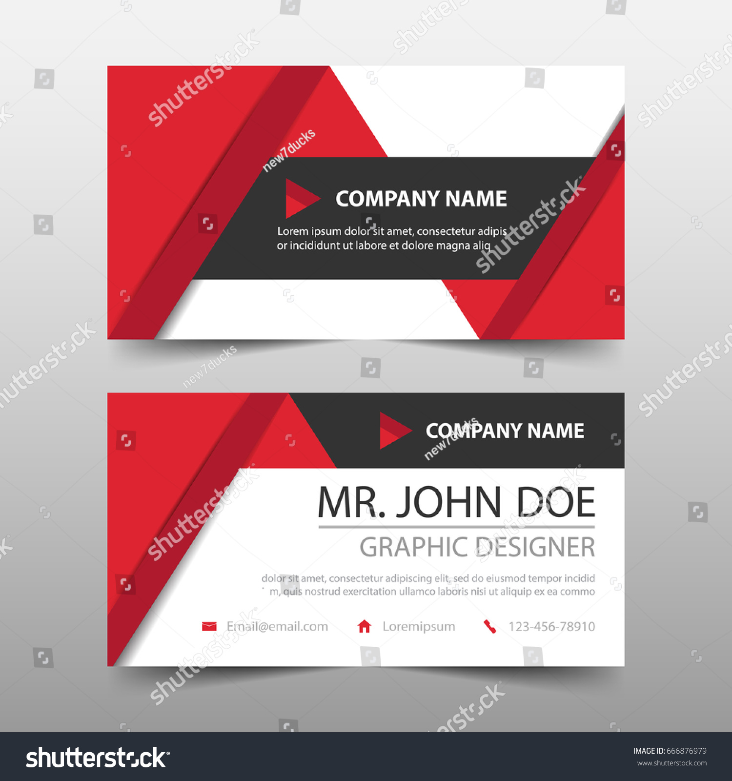 Red triangle corporate business card name stock vector royalty free red triangle corporate business card name card template horizontal simple clean layout design template cheaphphosting Image collections