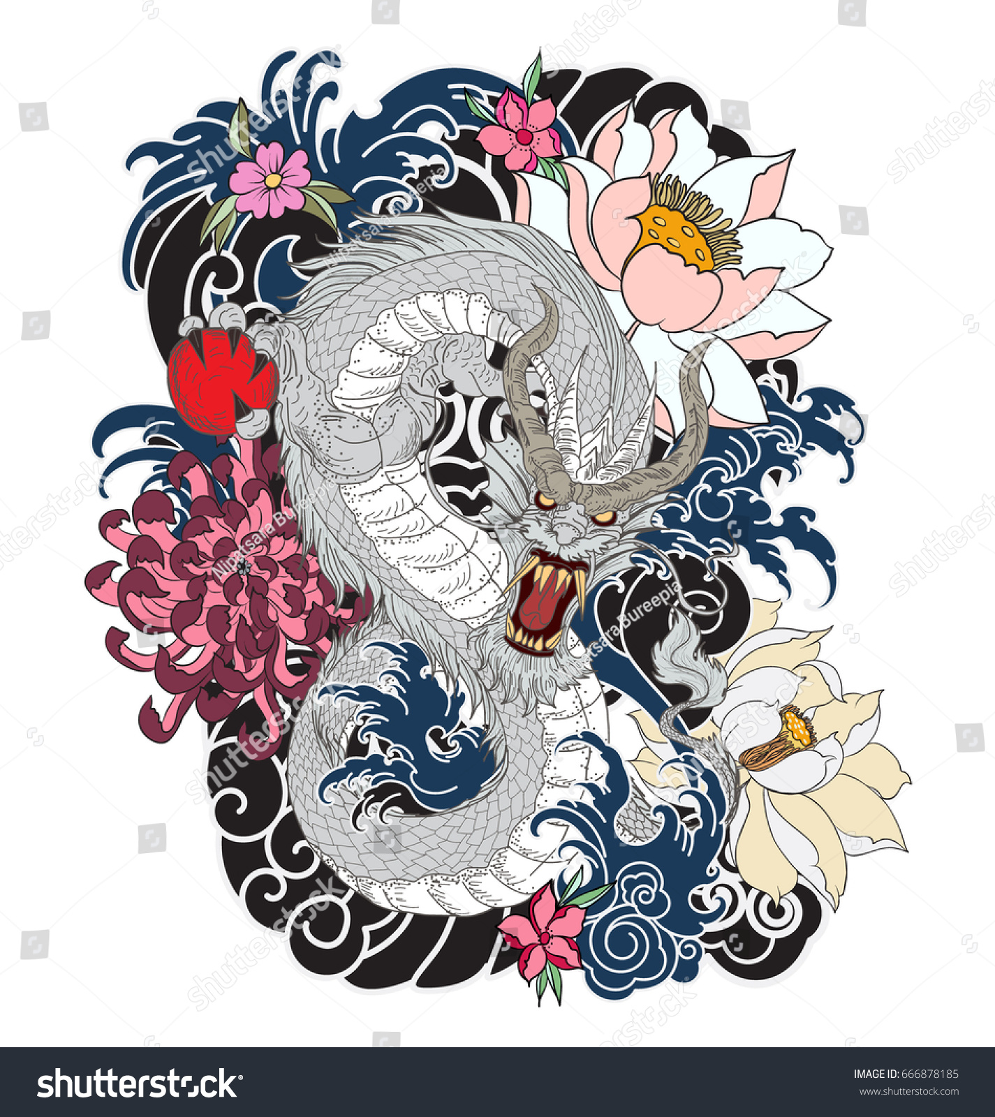Hand Drawn Dragon Tattoo Design Coloring Book Japanese Style