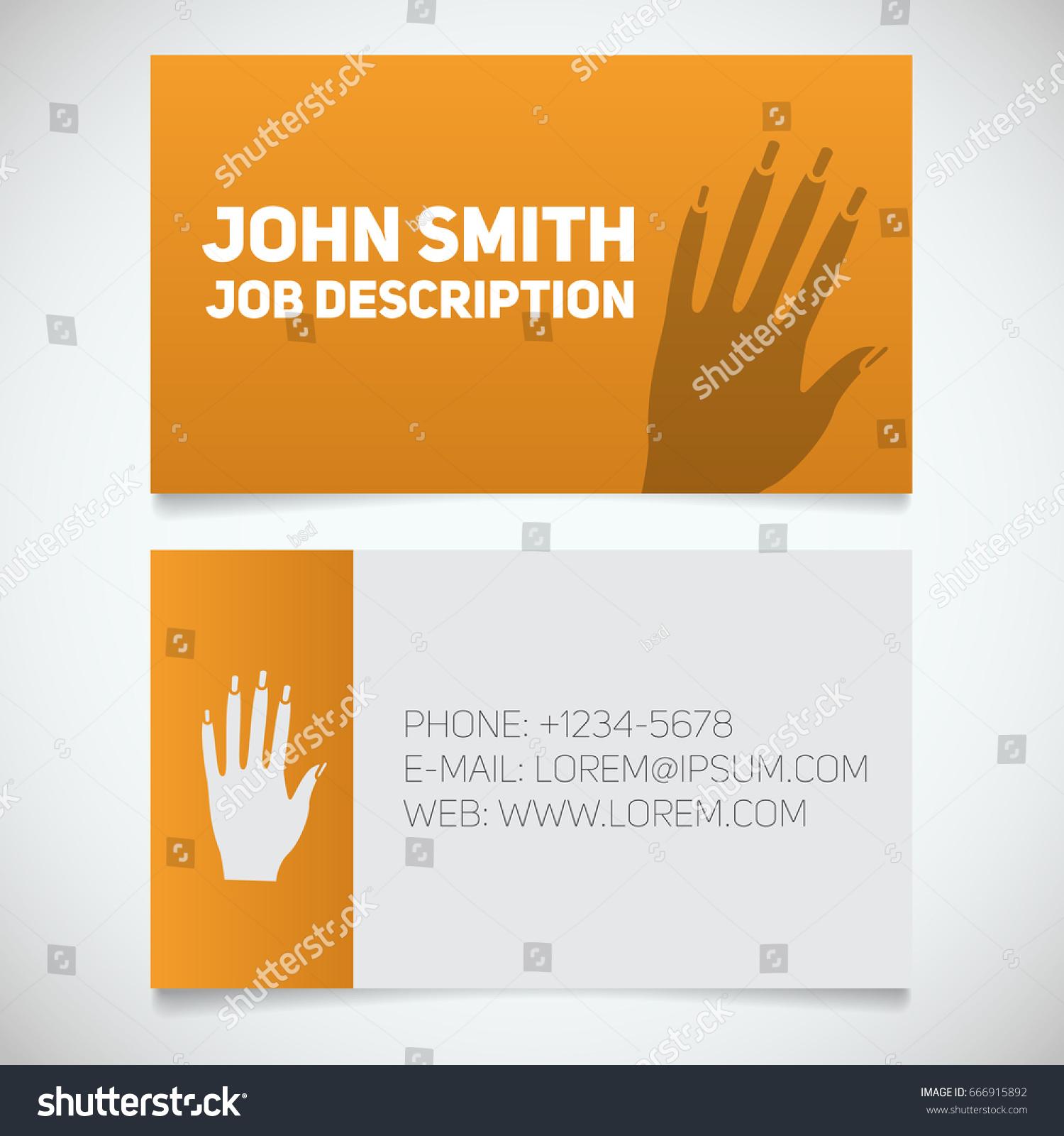 business card print template manicure logo stock vector 666915892 business card print template with manicure logo - Manicurist Job Description