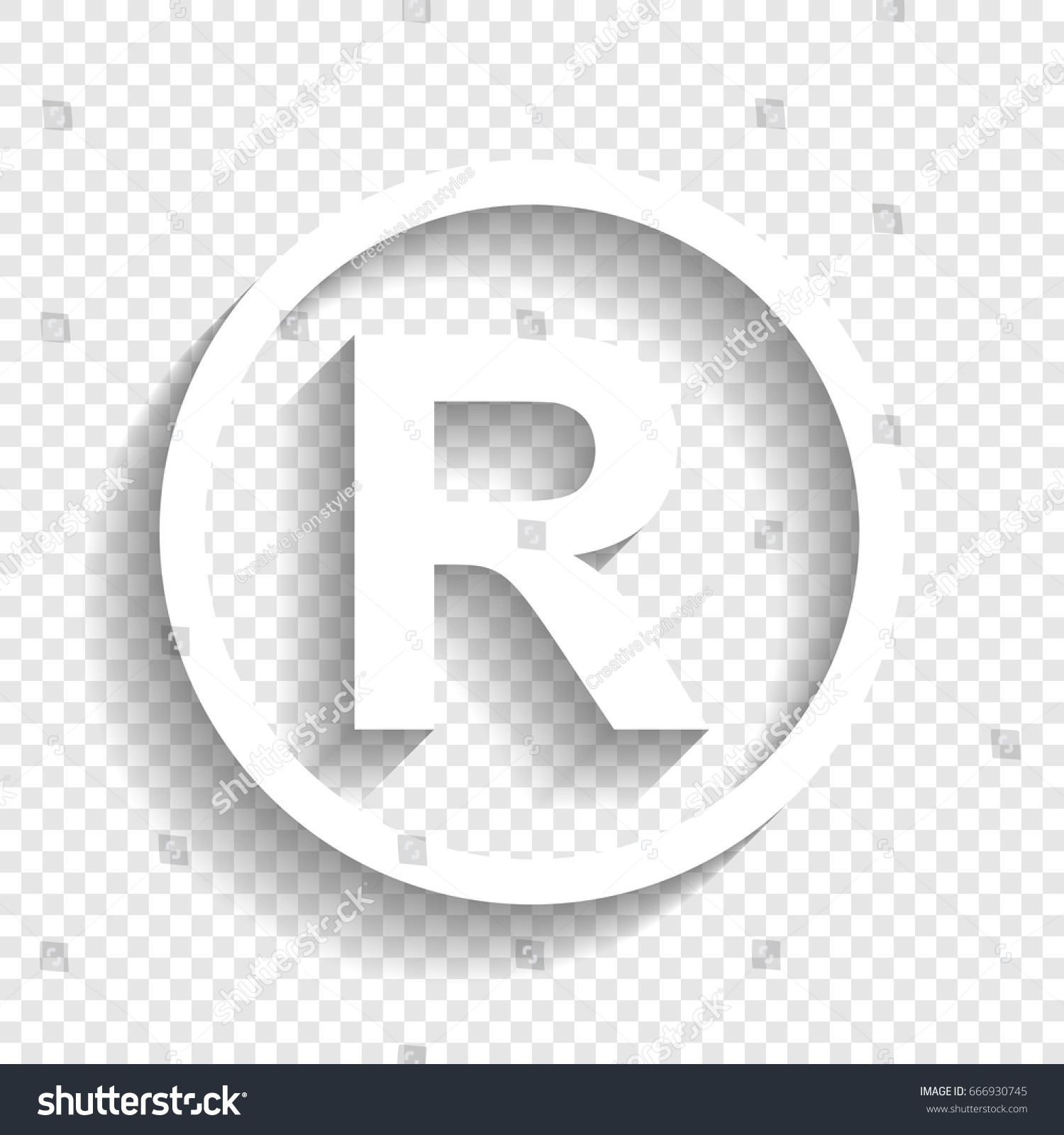Registered trademark sign vector white icon stock vector 666930745 registered trademark sign vector white icon with soft shadow on transparent background buycottarizona