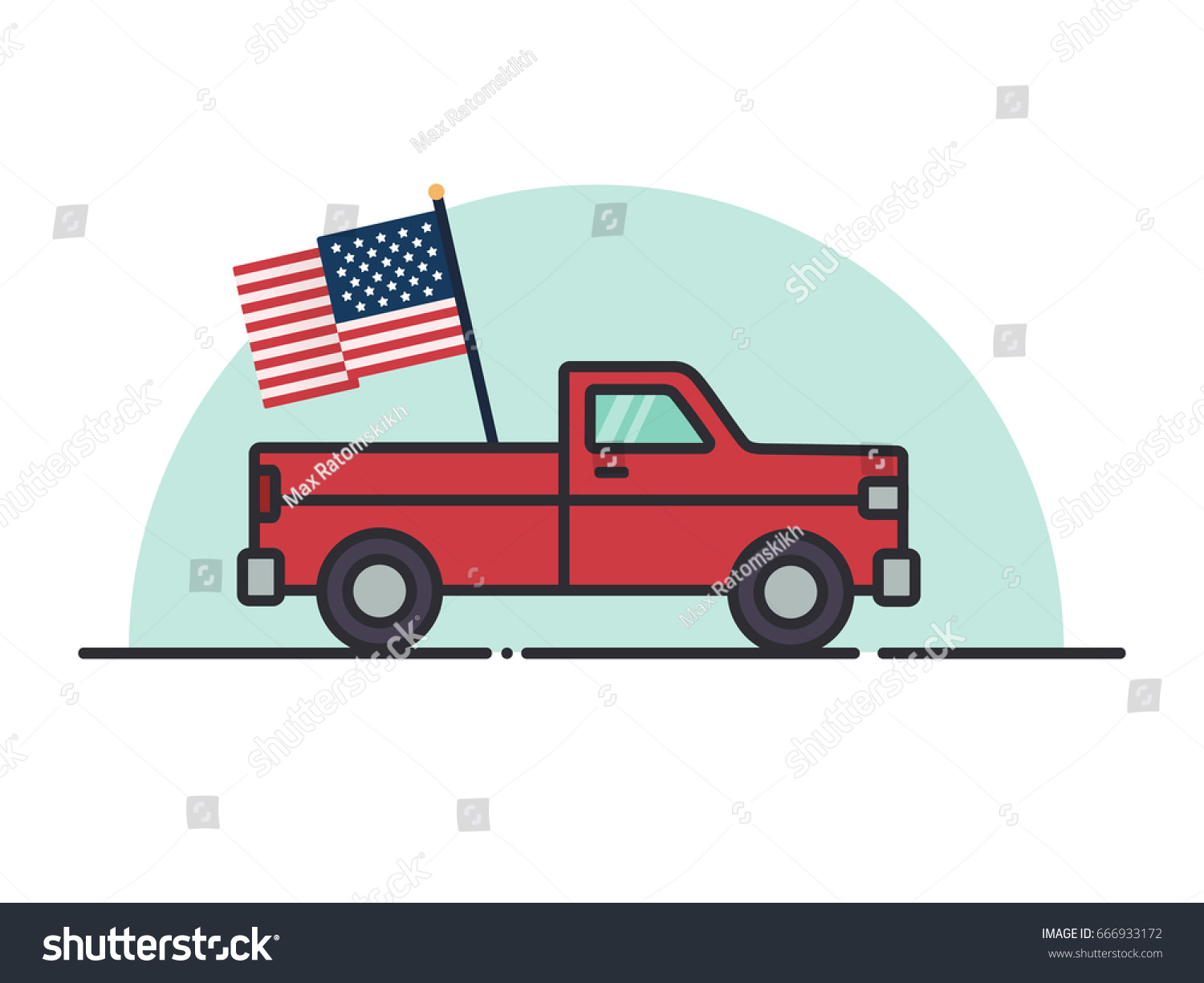 Pickup Truck Flat Style American Flag Stock Vector Royalty Free 666933172