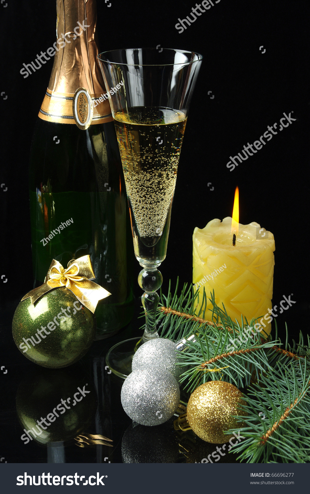 Champagne Bottle Decoration Glass Champagne Bottle Candle New Years Stock Photo 66696277