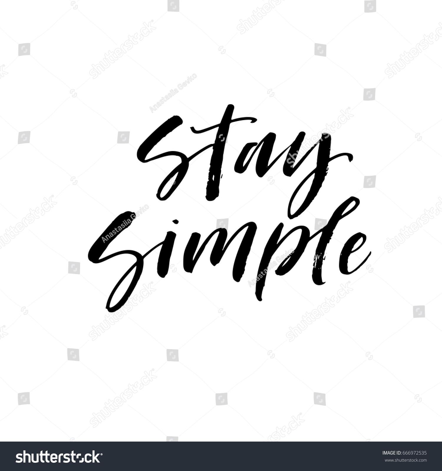 Stay Simple Postcard Illustration Modern Brush Stock