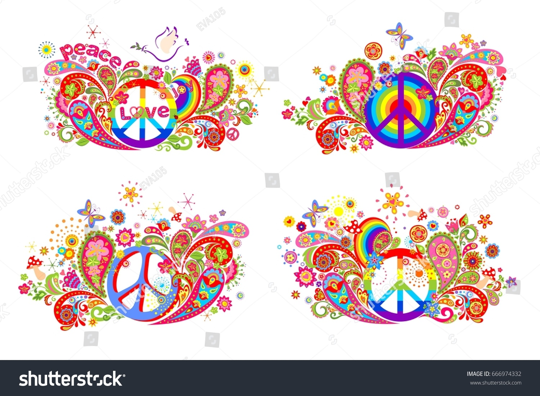 Tshirt Prints Hippie Peace Symbol Flowerpower Stock Vector Royalty