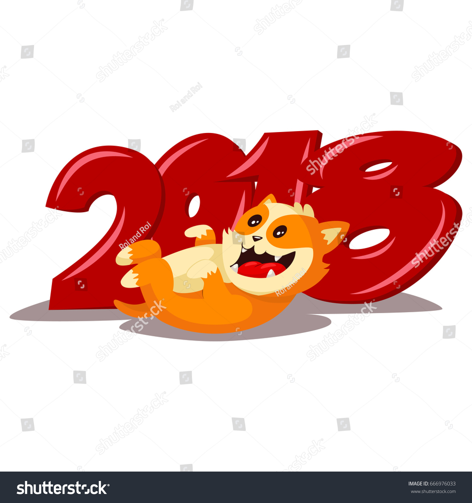 2018 chinese new year with cute cartoon yellow dog vector illustration isolated on a white