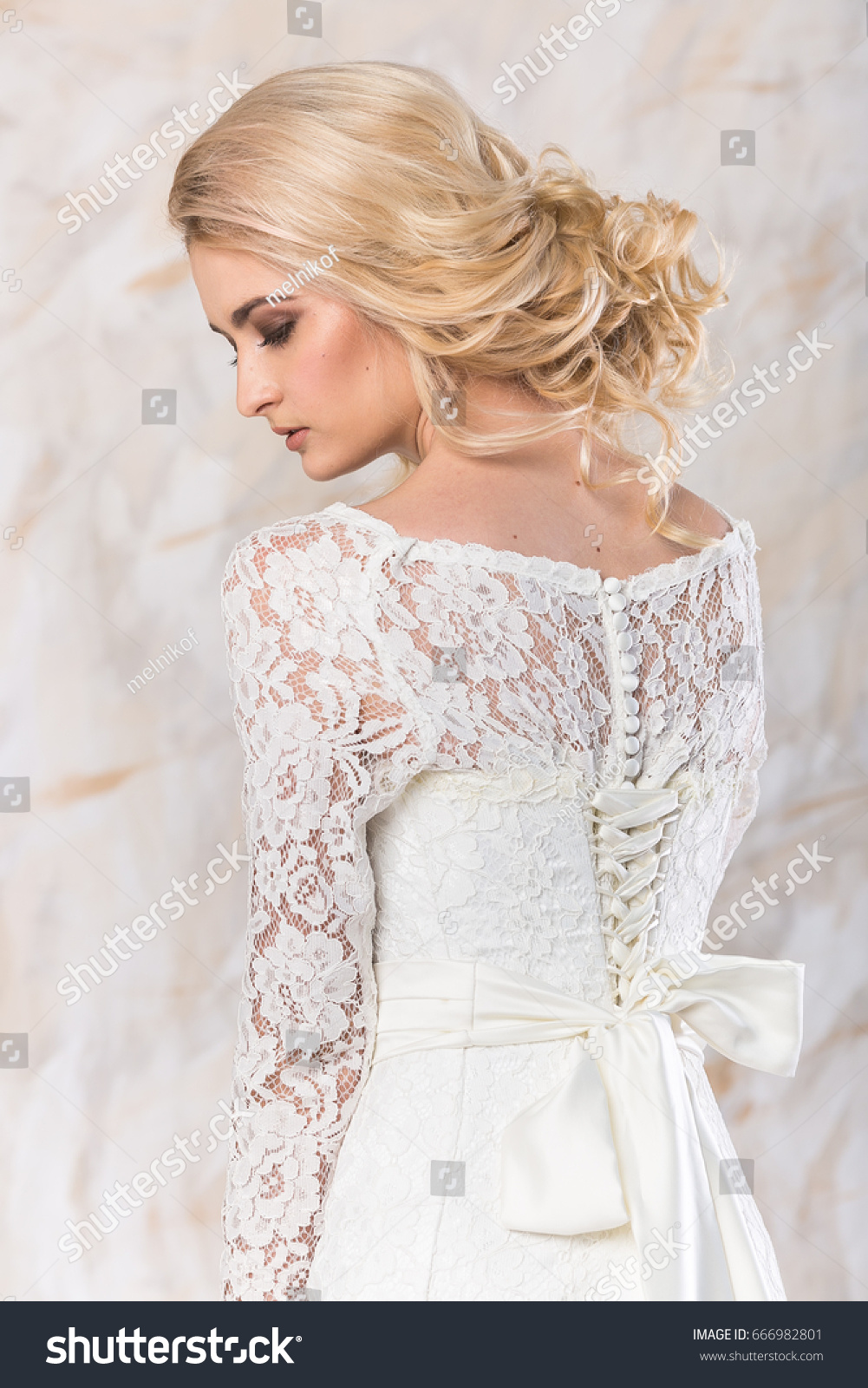 Fashionable Gown Beautiful Blonde Model Bride Stock Photo (Royalty ...