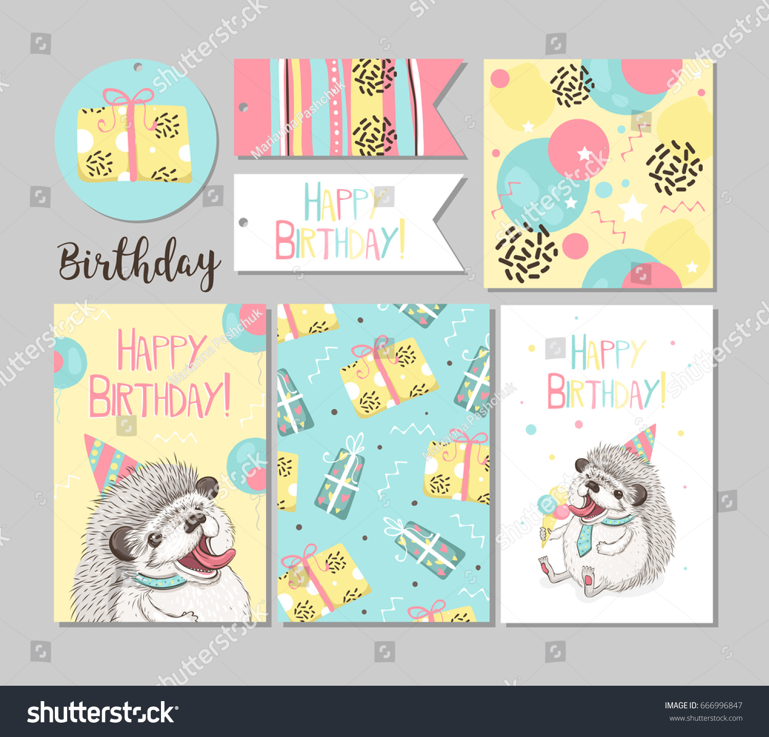 Set Greeting Cards Happy Birthday Funny Stock Vector