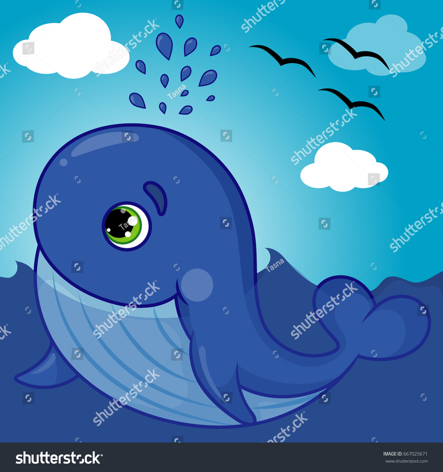 Cute whale in water cartoon isolated illustration stock photography - Cute Whale Character Smiling With Water Fountain Blow Cartoon Hand Drawn Vector Illustration Eps 10