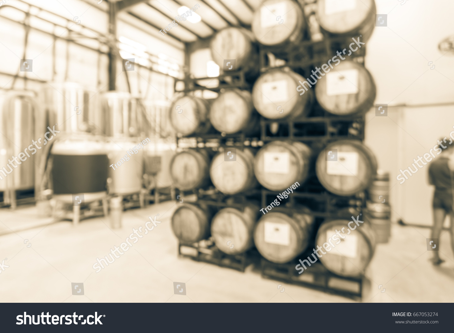 Blurred Modern Beer Plant (brewery), Stack Of Barrels In Cellar, Stainless  Steel
