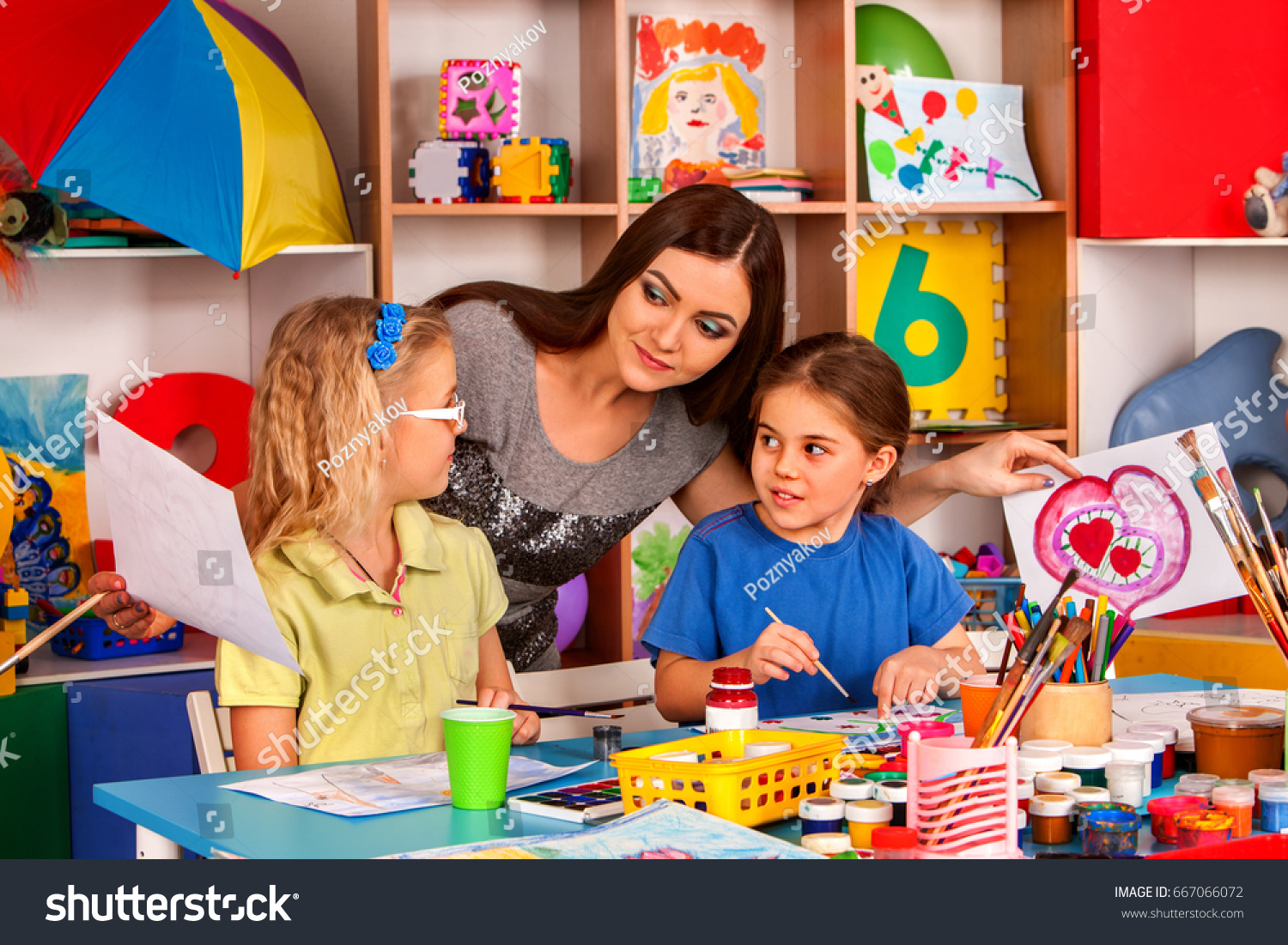Kids Playroom Organization Children Painting Drawing Stock Photo ...