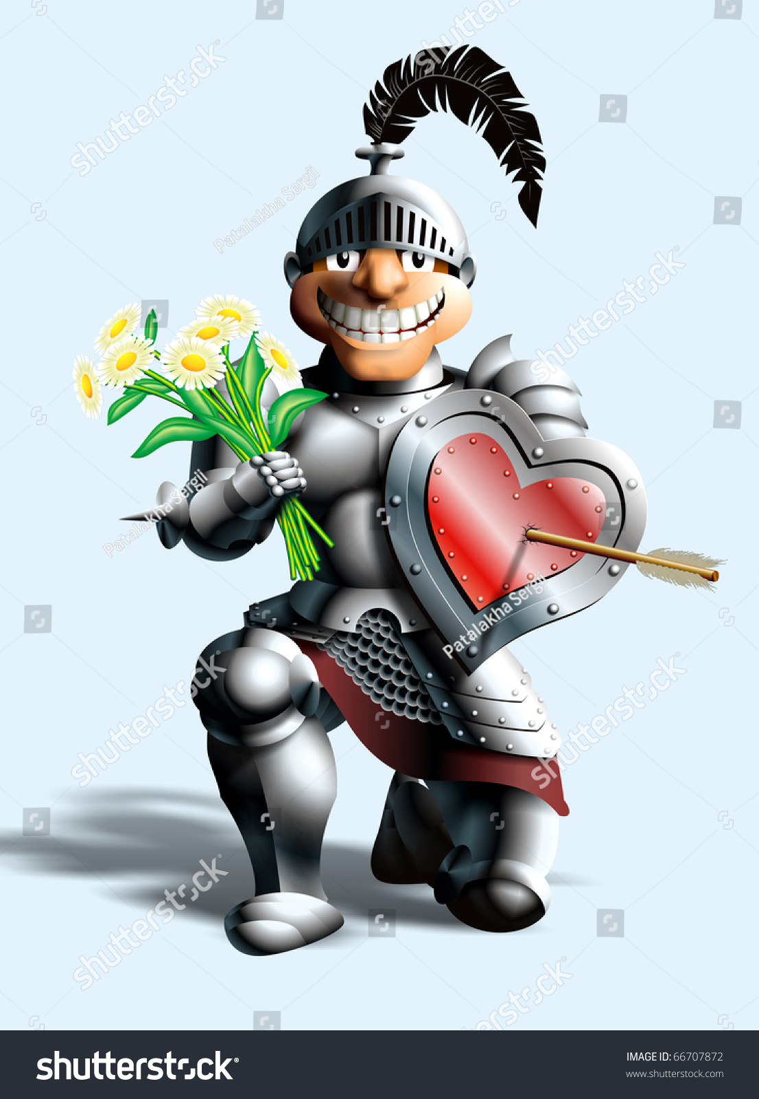 funny knight stands on one knee stock illustration
