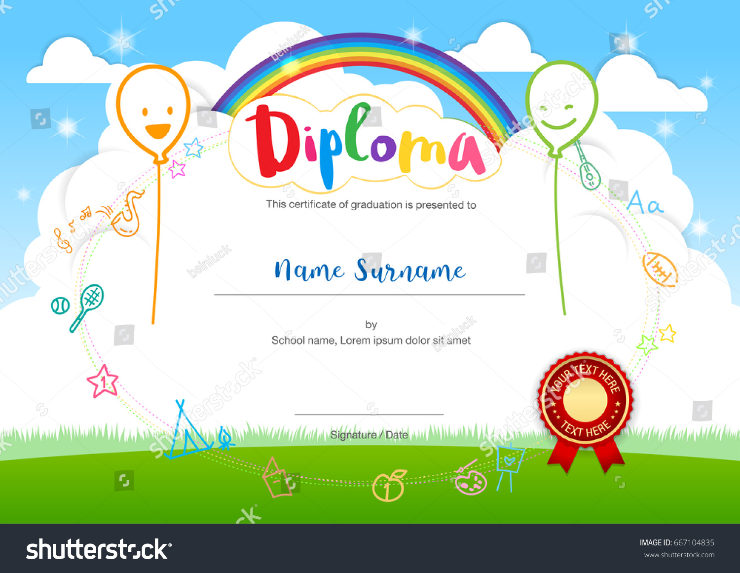 Colorful Kids Summer Camp Diploma Certificate Stock Vector Royalty