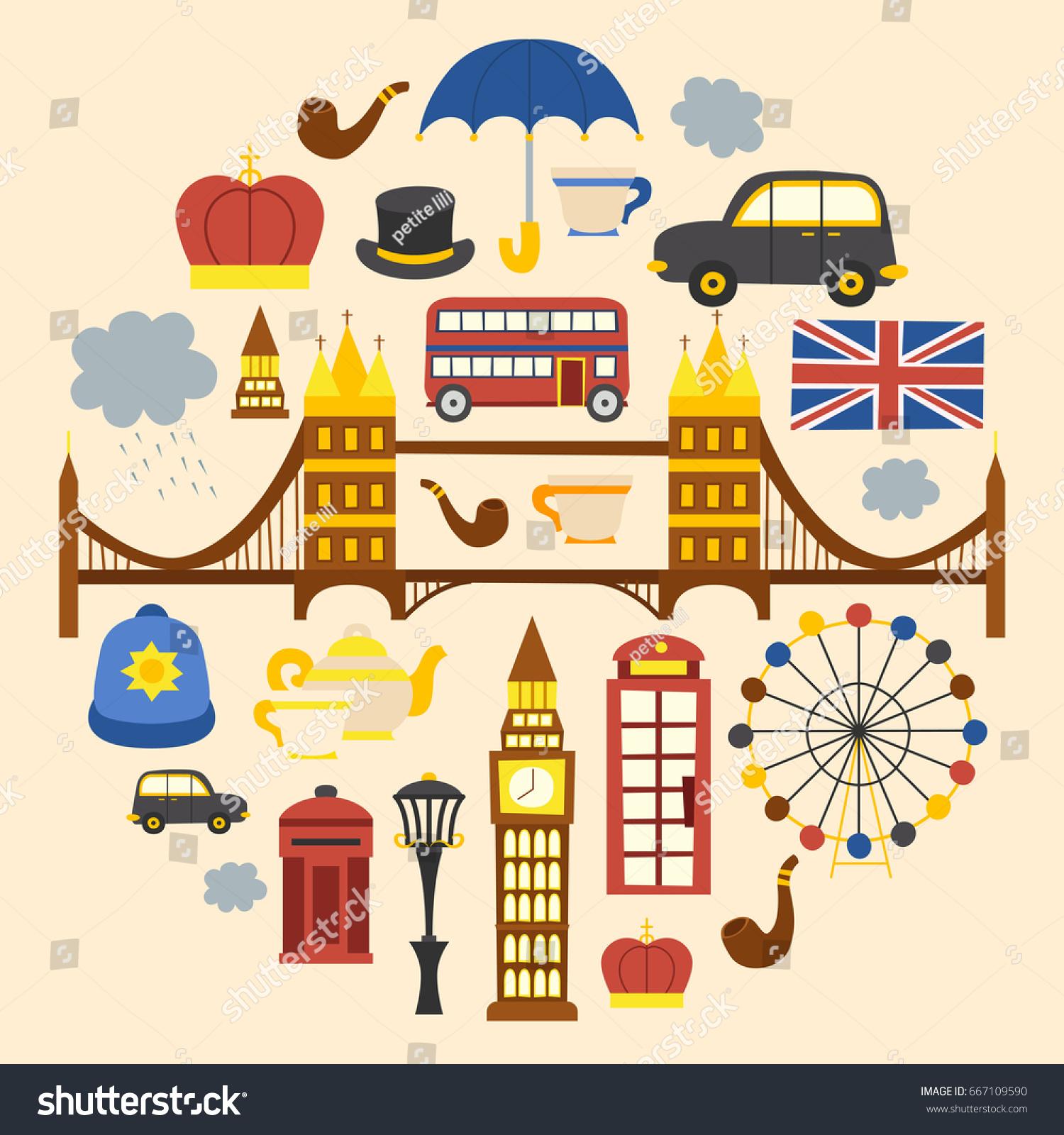 Vector Cartoon Illustration London Background Travel Stock Vector