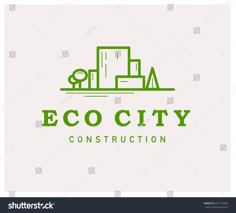 Eco Friendly Construction Vector Flat Eco Building Construction Company Stock Vector