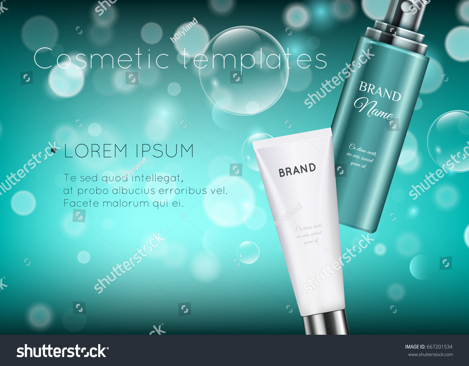 beautiful cosmetic templates ads realistic 3d stock vector