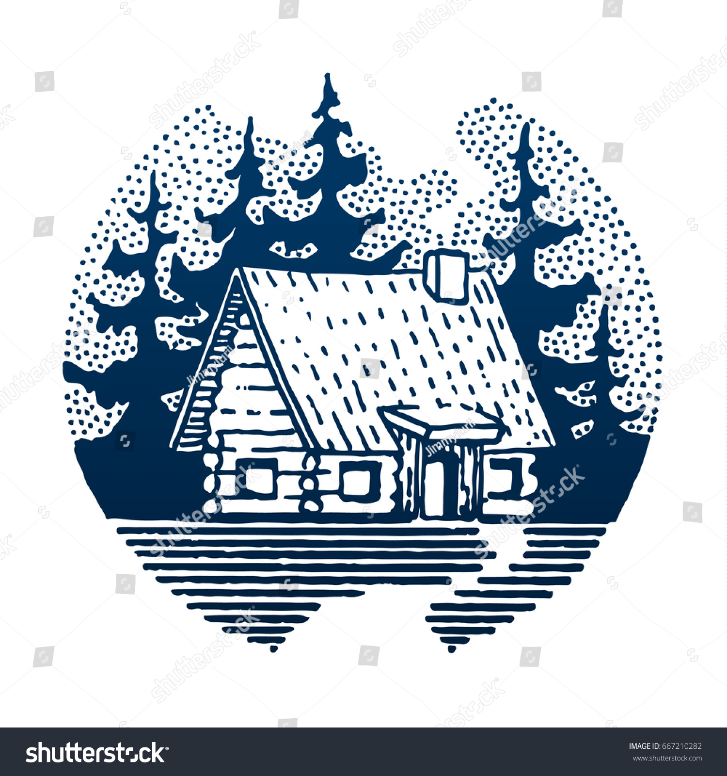 Wooden house forest round travel symbol stock vector 667210282 round travel symbol tourism hand drawn illustration in biocorpaavc Images