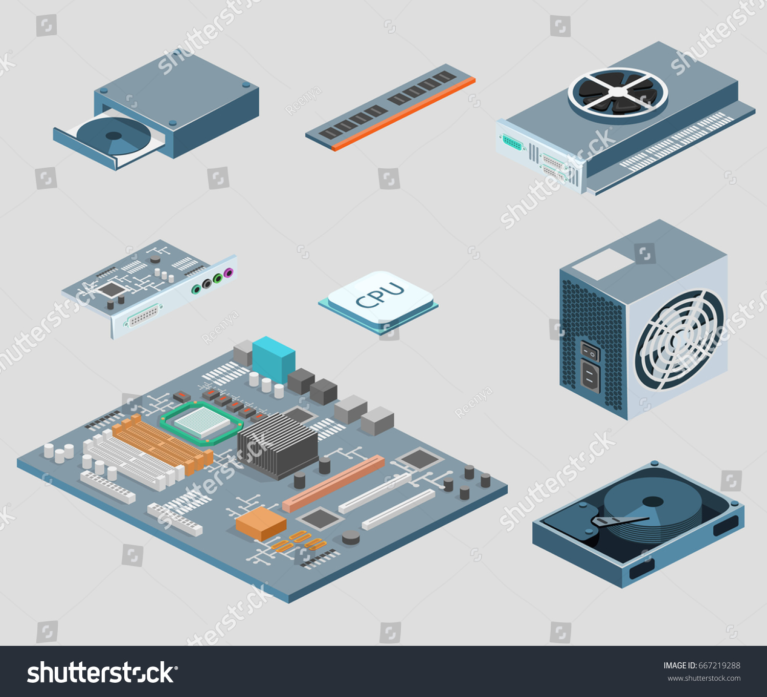 Isometric Flat 3 D Isolated Concept Vector Stock Royalty Computer Parts Diagram Basic Of A 3d White