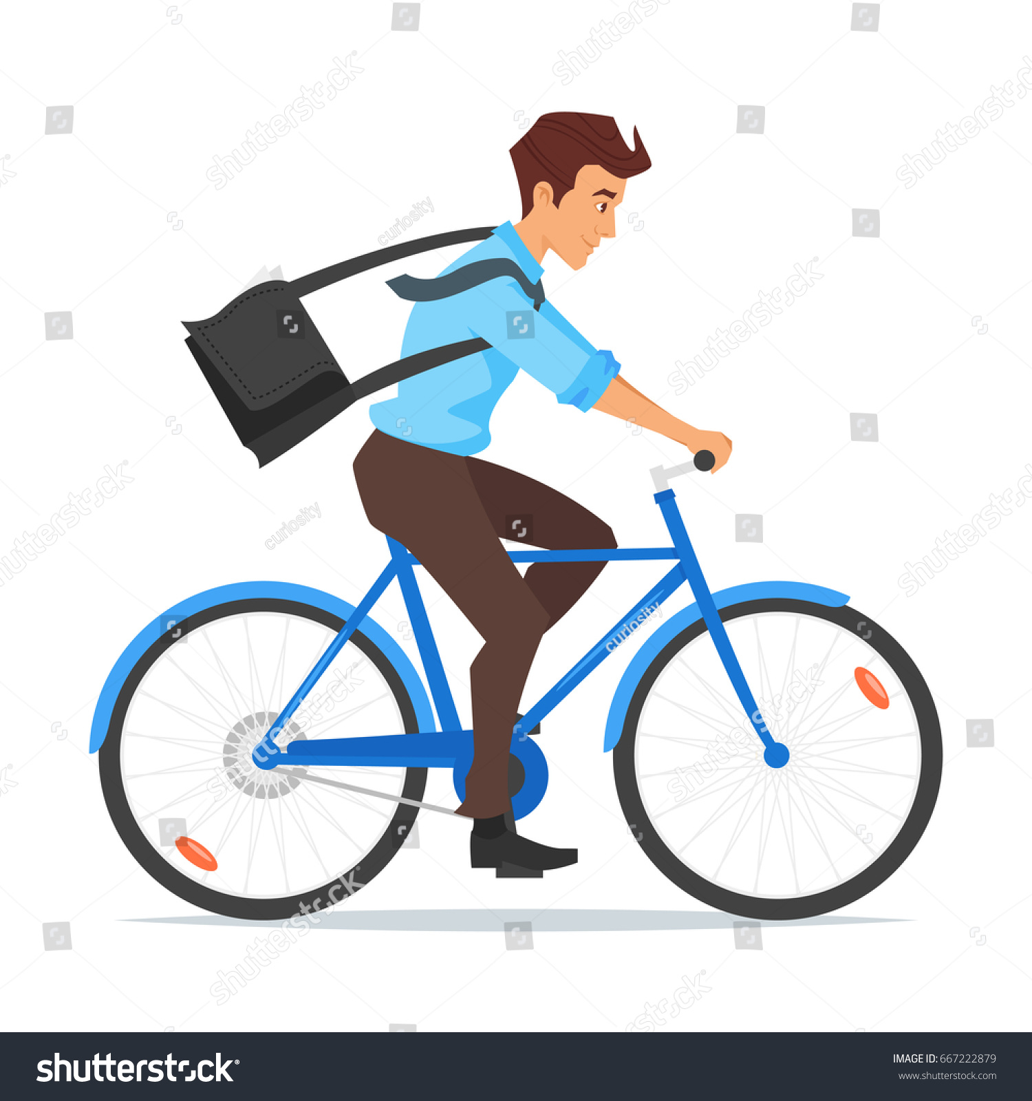 Vector cartoon style illustration of businessman riding on the bike and hurrying to work. Isolated on white background.
