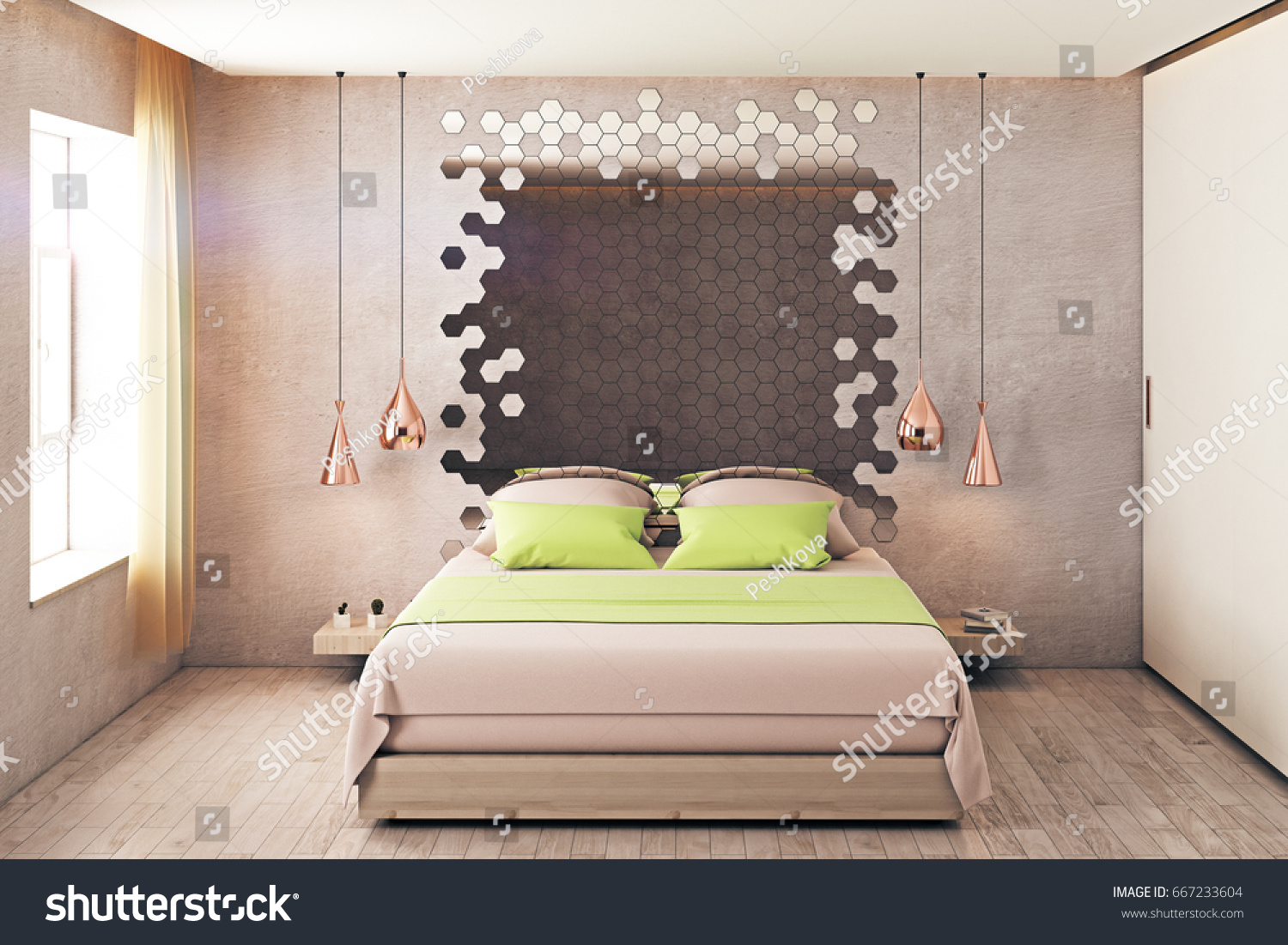 Hipster Bedroom Interior With Furniture, Hexagonal Mirror And Window With  Sunlight. 3D Rendering