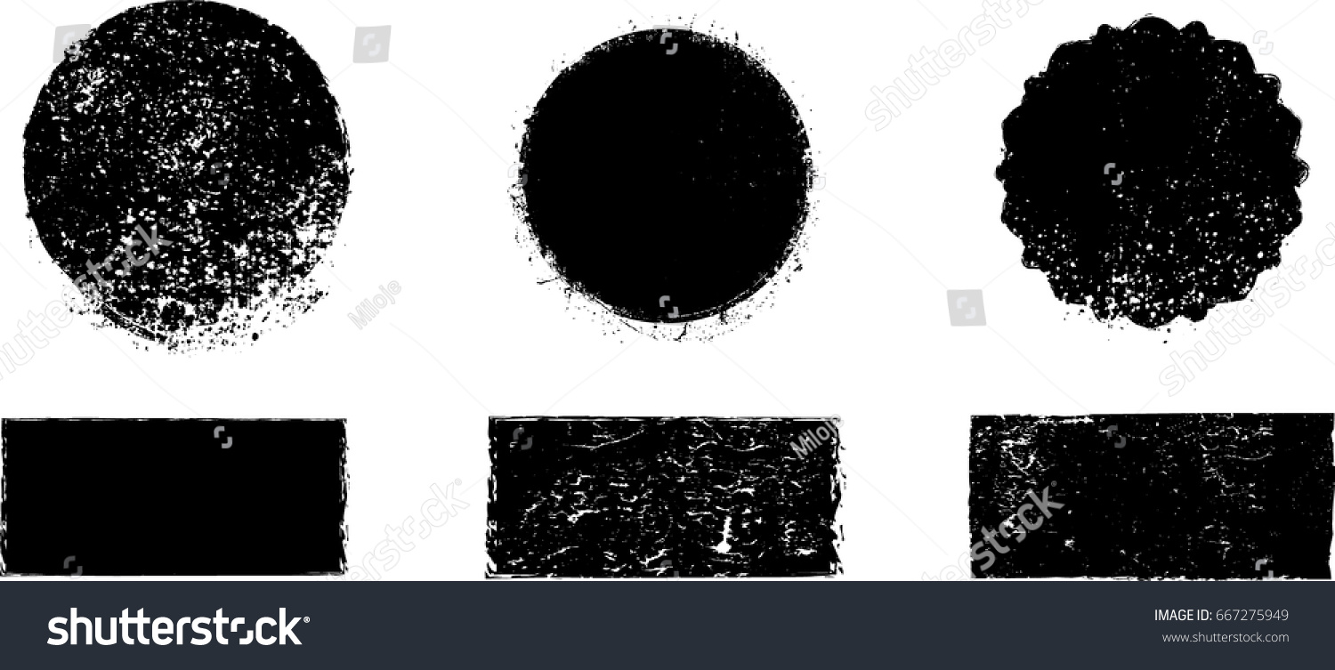 Grunge post Stamps Collection, Circles. Banners, Insignias , Logos, Icons, Labels and Badges Set . vector distress textures.blank shapes. #667275949