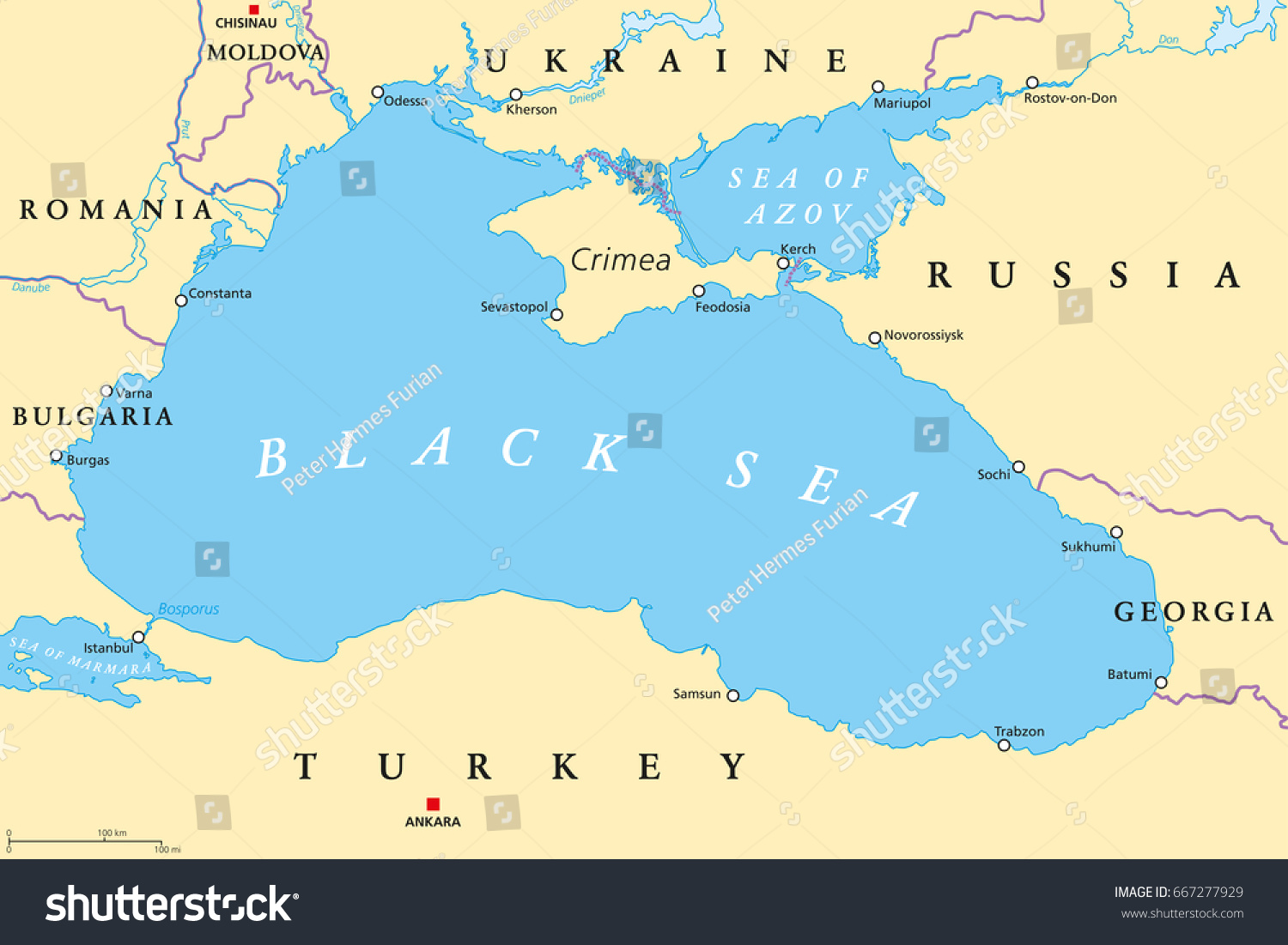 black sea and sea of azov region political map with capitals most important cities