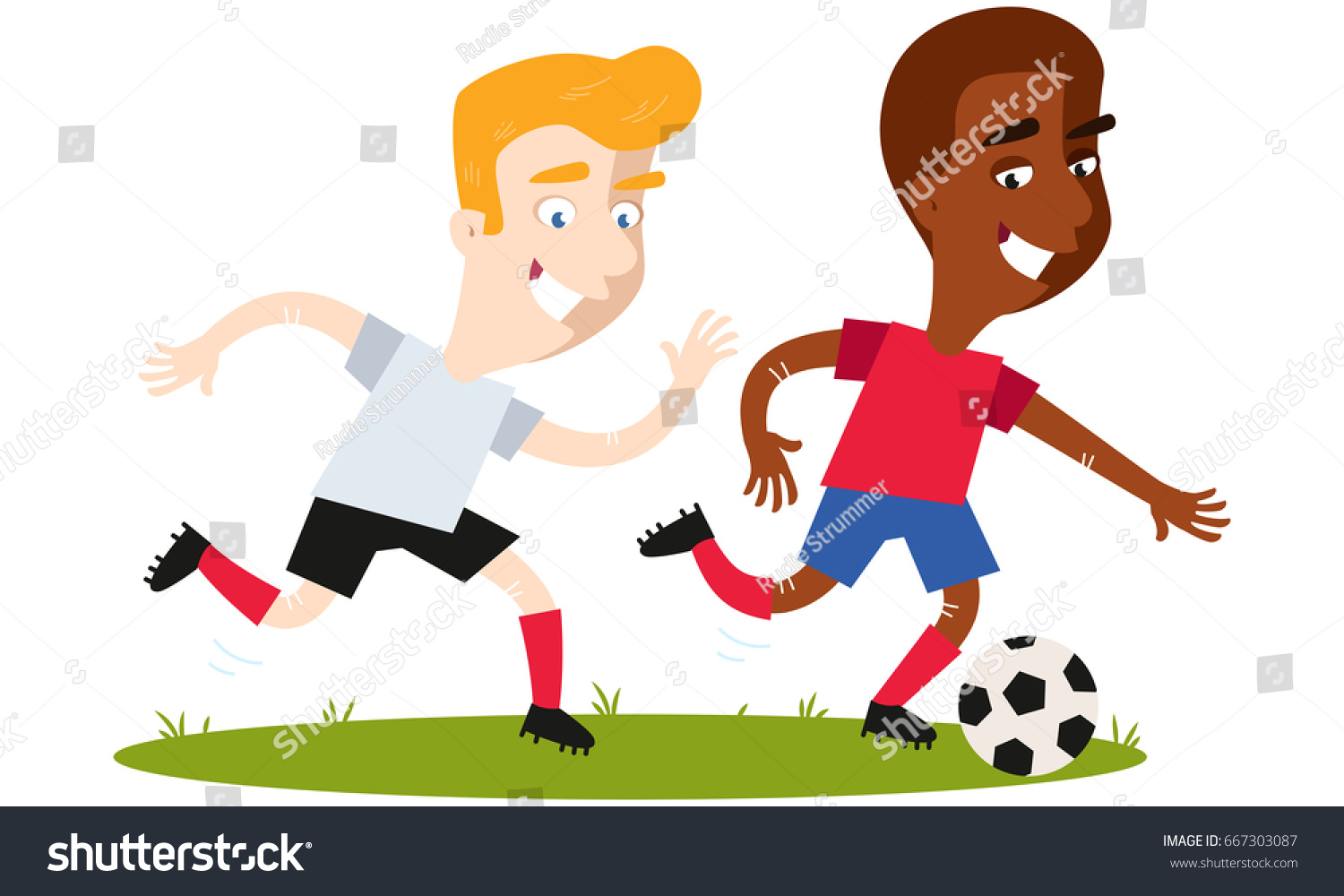 Two boy playing soccer stock illustration. Illustration of adorable -  60927270