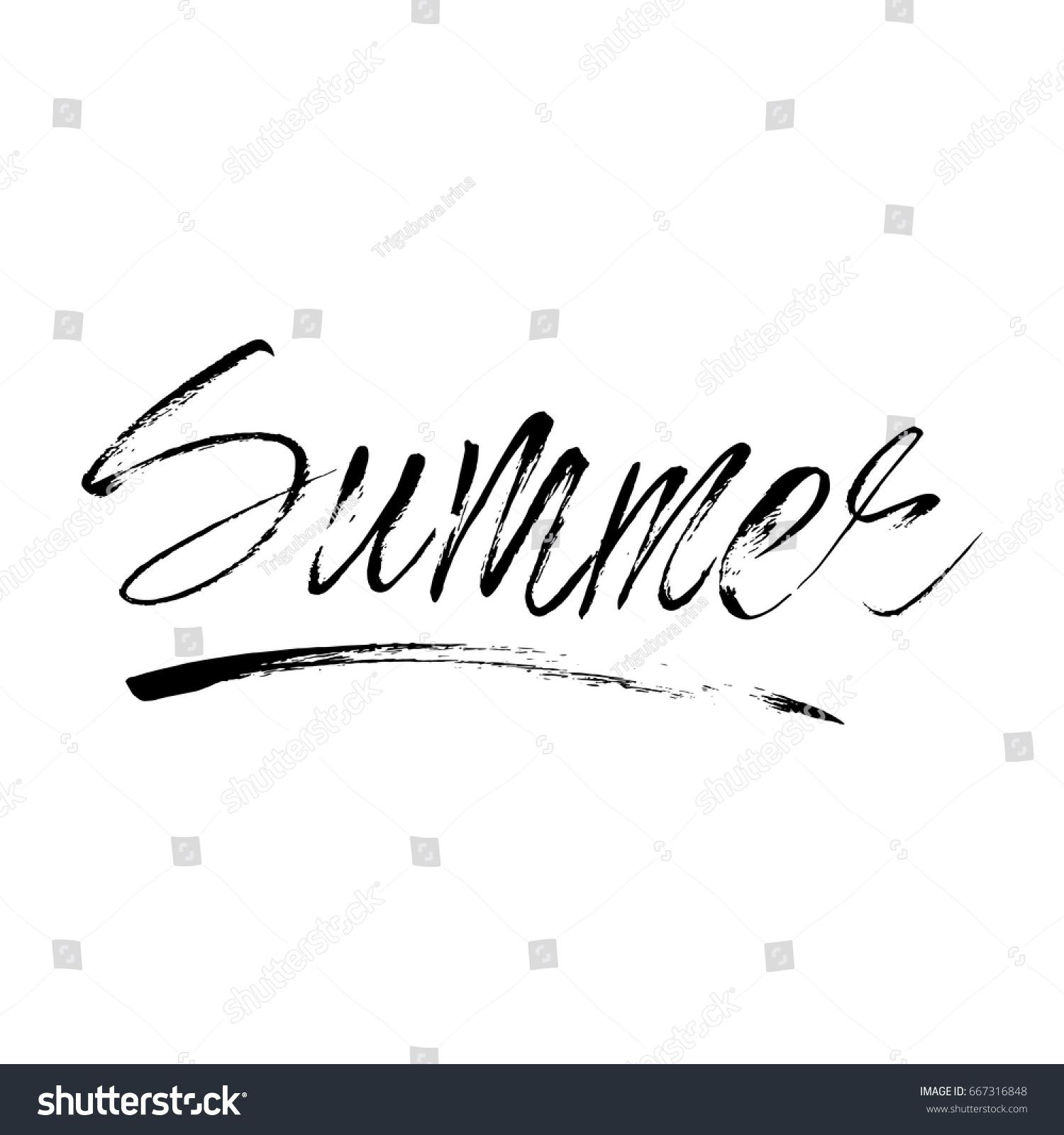 Vector Lettering Summer Card Handdrawn Positive Stock Vector Hd