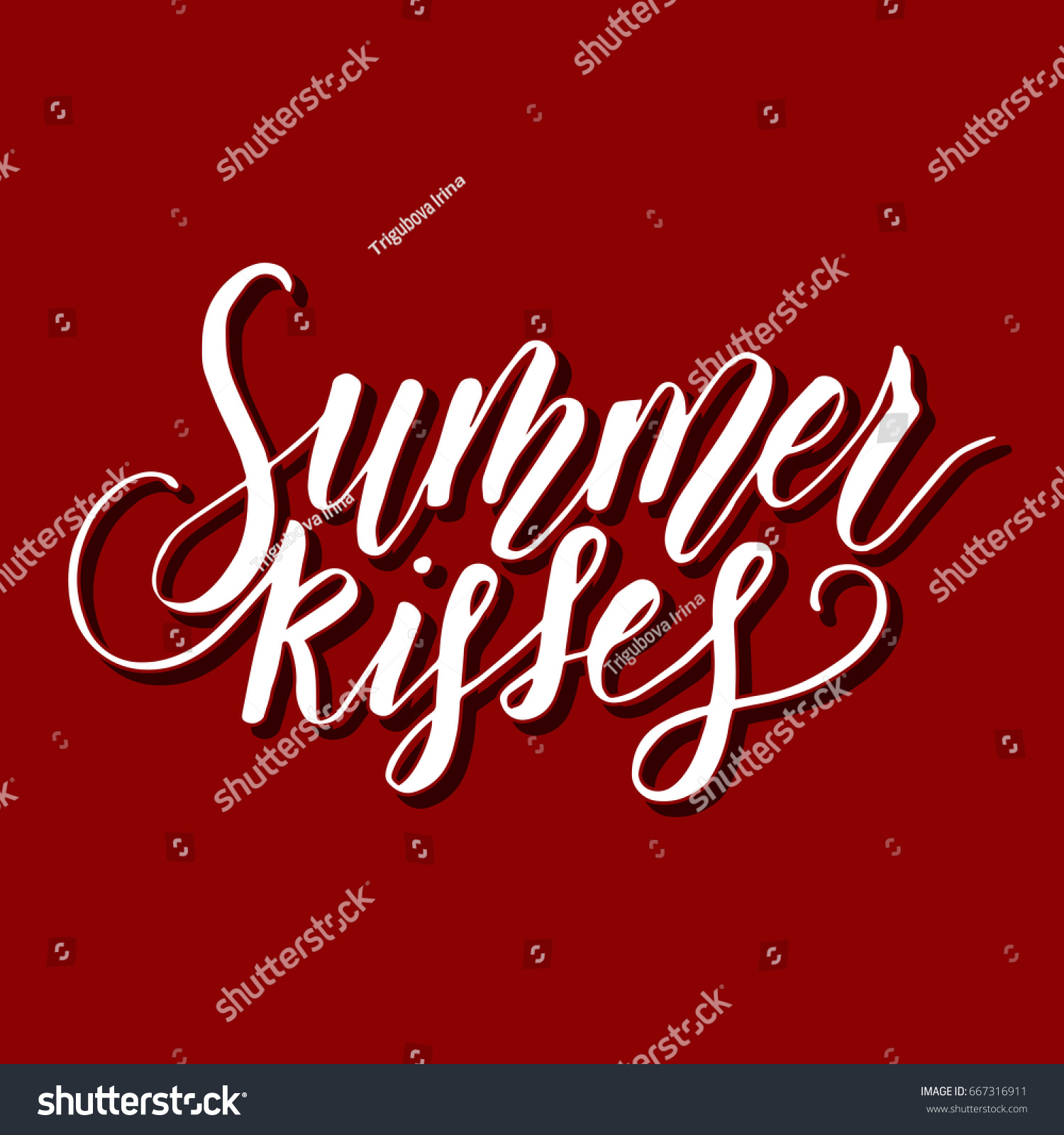 Summer Kisses Vector Lettering Summer Card Stock Vector Hd Royalty