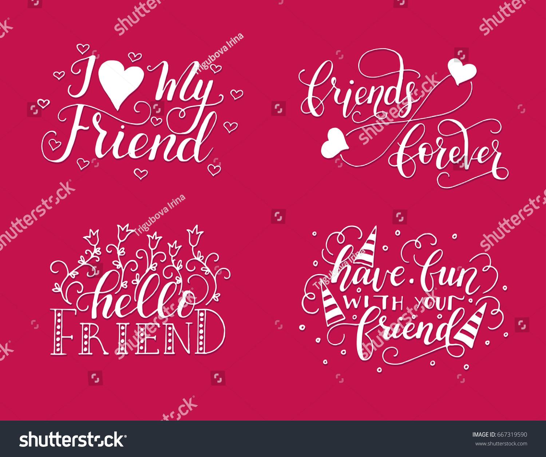 Vector Lettering Set Friendship Day Handdrawn Stock Vector Royalty