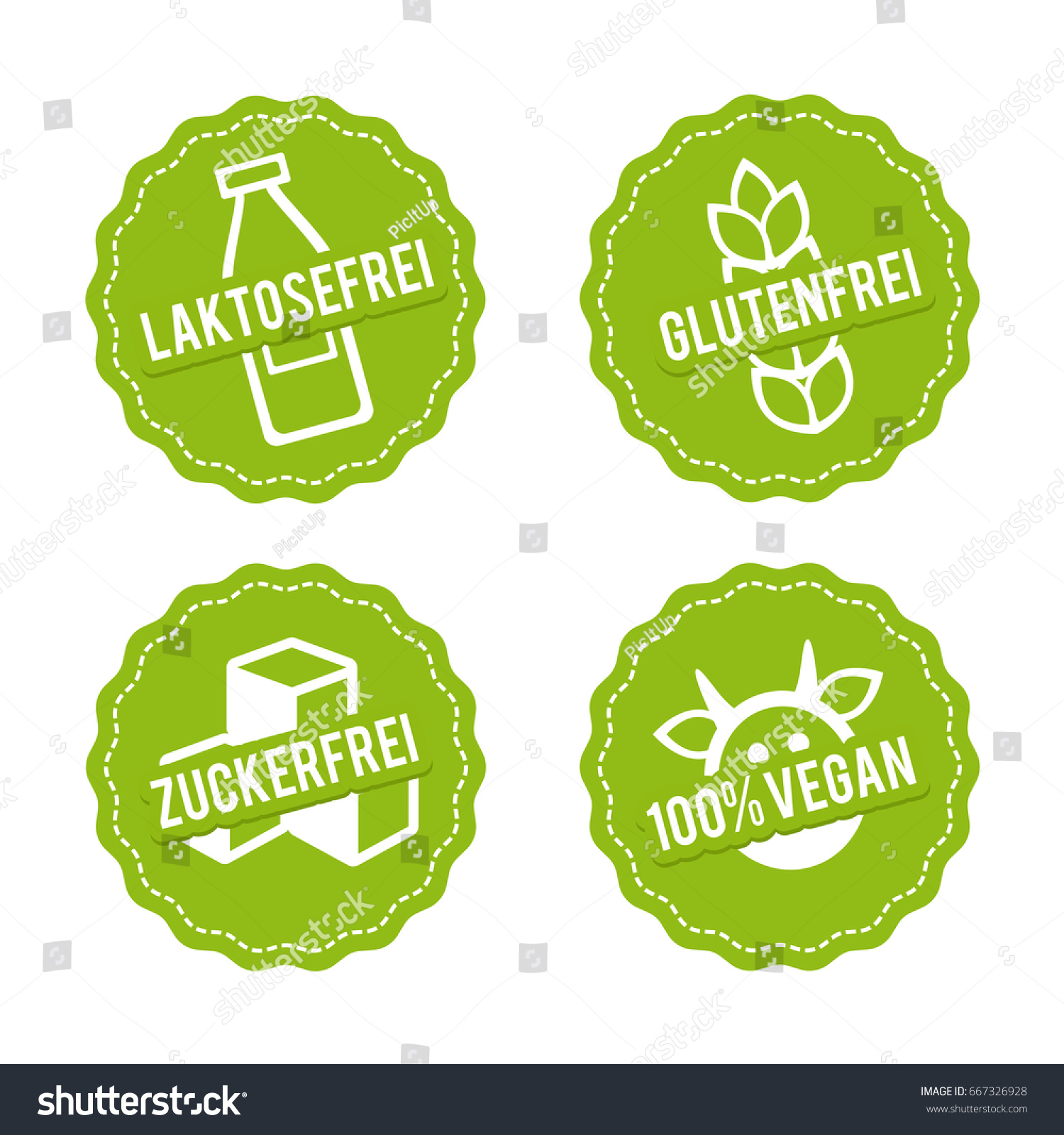 Vektor Symbole Vegan Glutenfrei Laktosefrei Und Stock