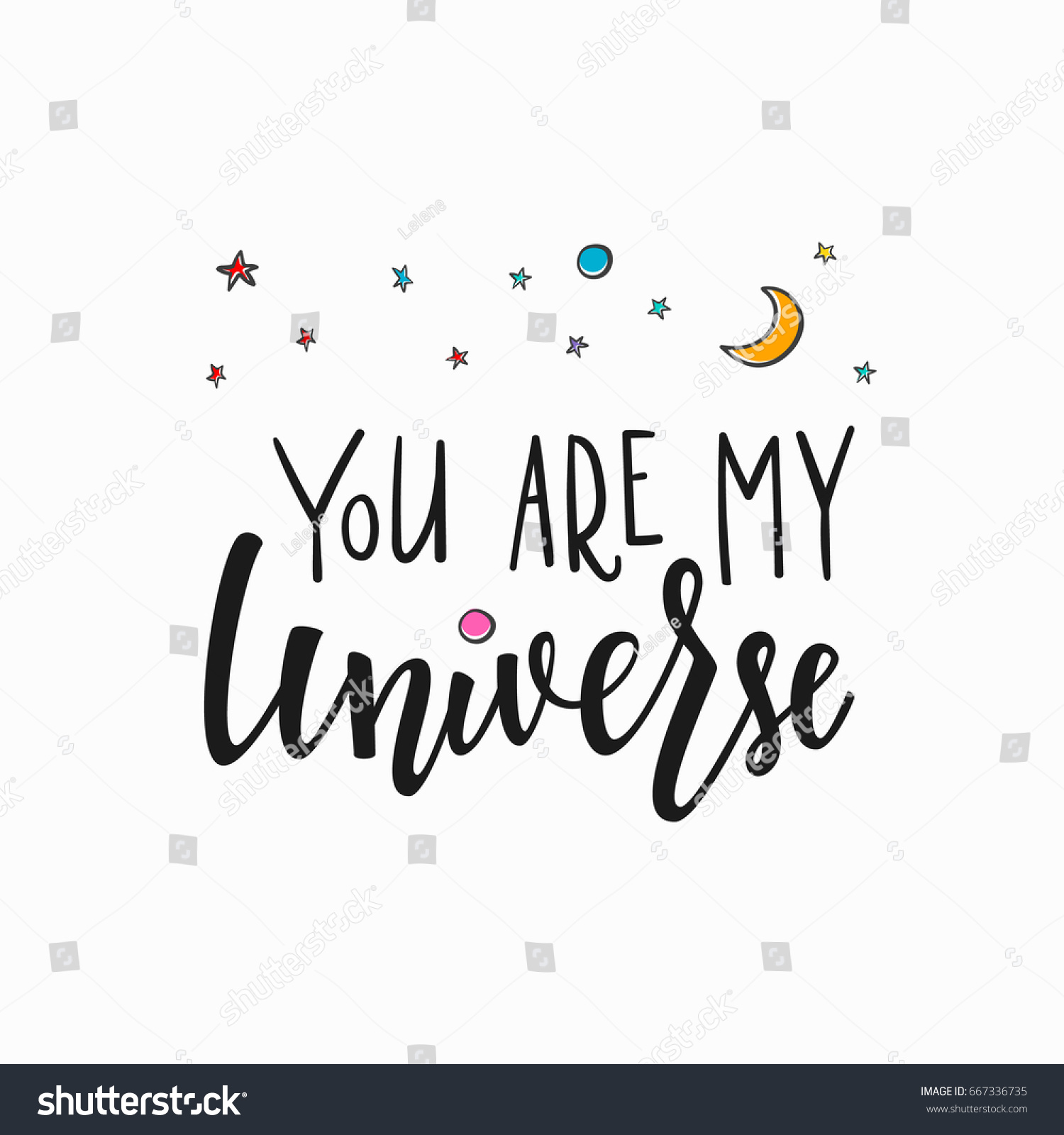 You My Universe Love Romantic Space Stock Vector Royalty Free