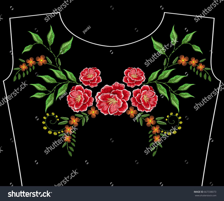 Embroidery Neckline Wild Flowers Vector Fashion Stock Photo (Photo ...