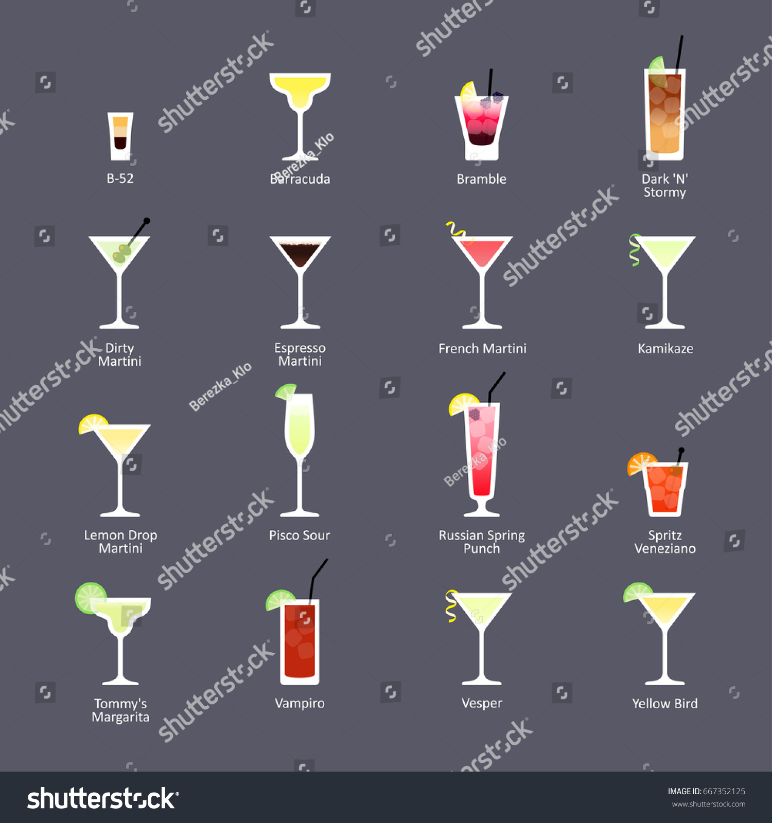 Alcoholic Cocktails Iba Official Cocktails New Stock Vector Royalty Free 667352125