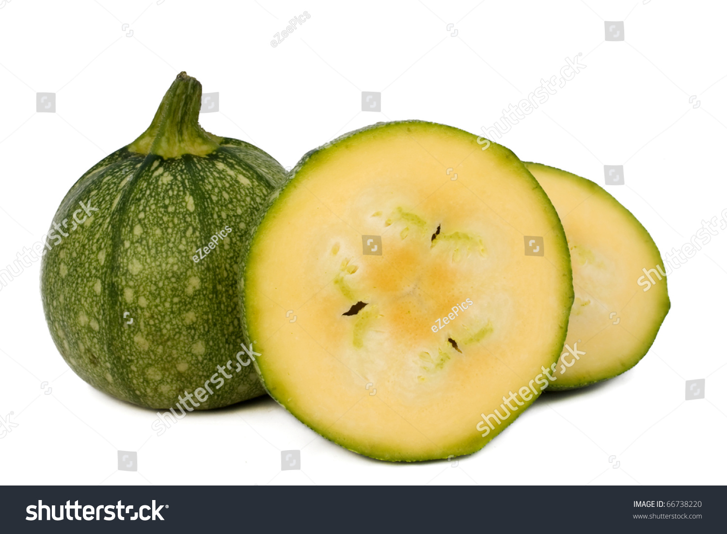 Food Vegetables Round Zucchini Entire Sectioned Stock ...