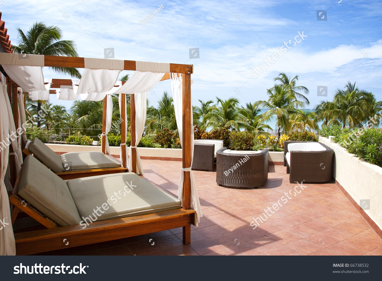 Outdoor Cabana outdoor cabana beds on rooftop overlooking stock photo 66738532