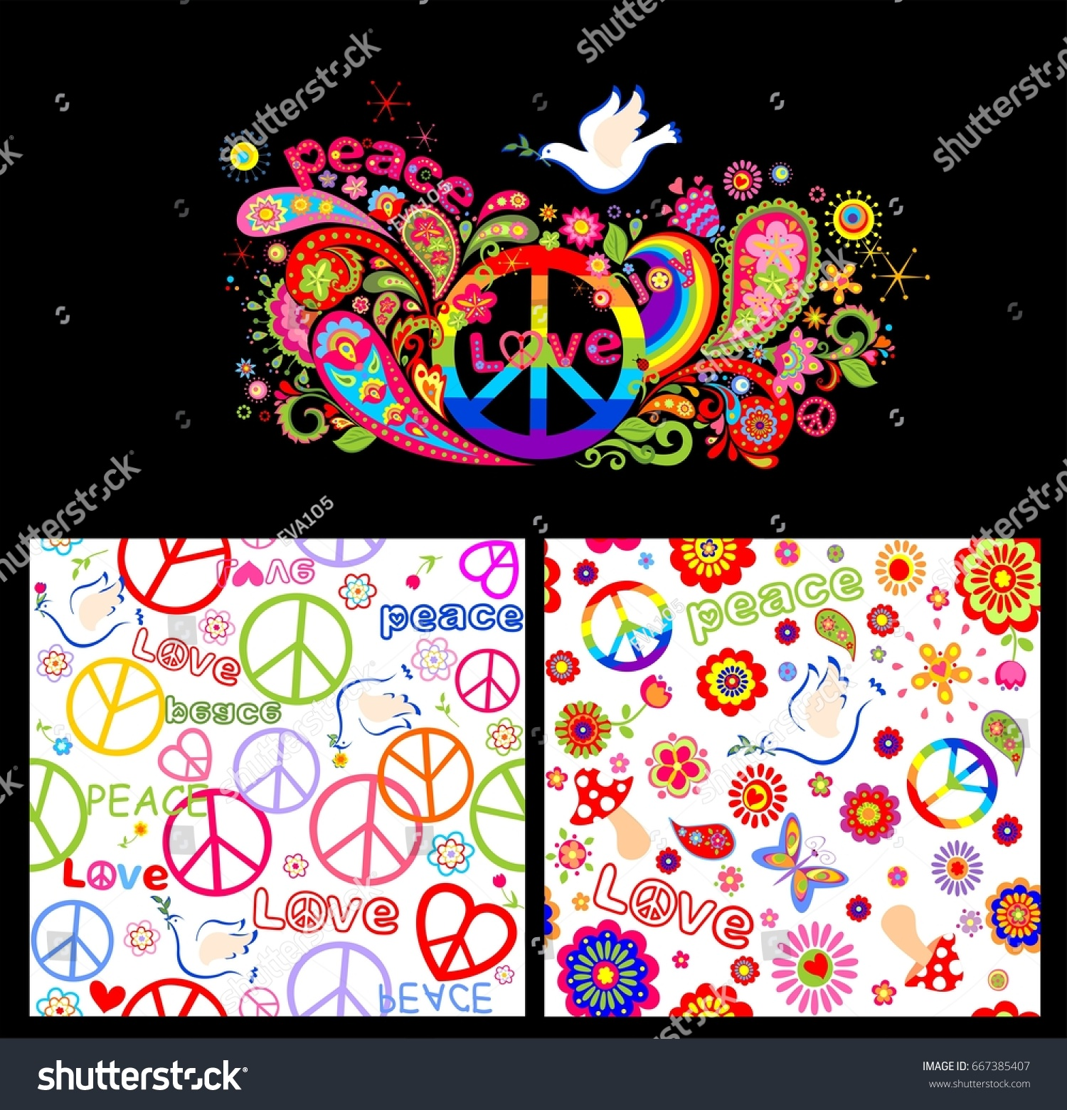 Colorful Poster Wallpaper Abstract Flowers Rainbow Stock Vector