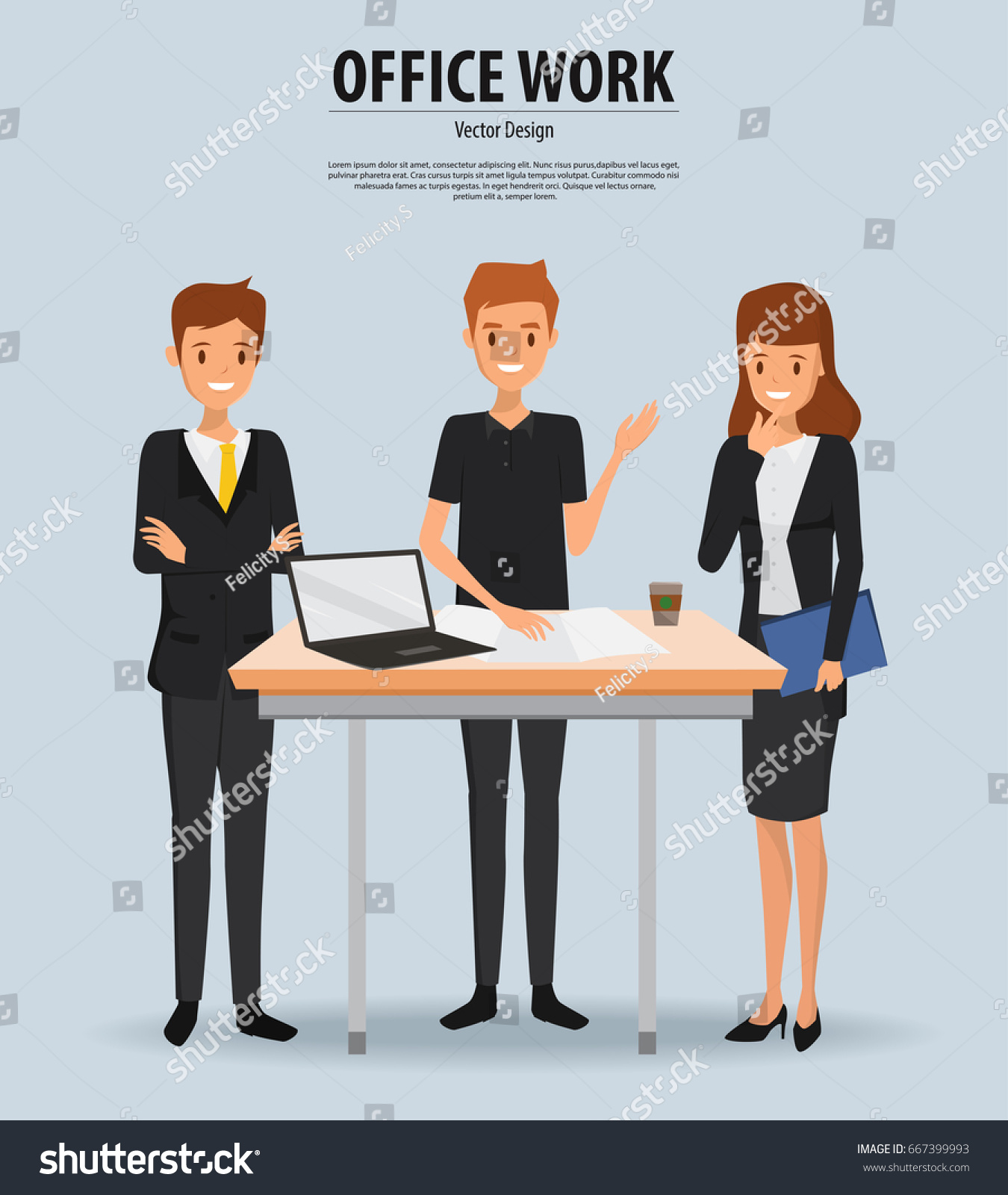 Business Daily Stand Meeting Office Vector Stock Vector Royalty - Stand up meeting table