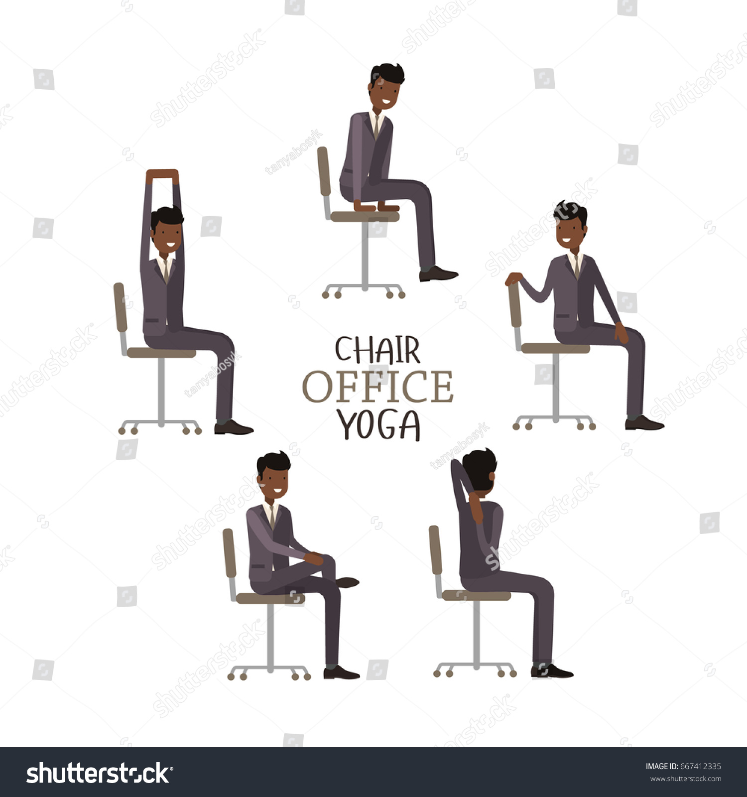 fice Chair Yoga Corporate Workout Vector Stock Vector