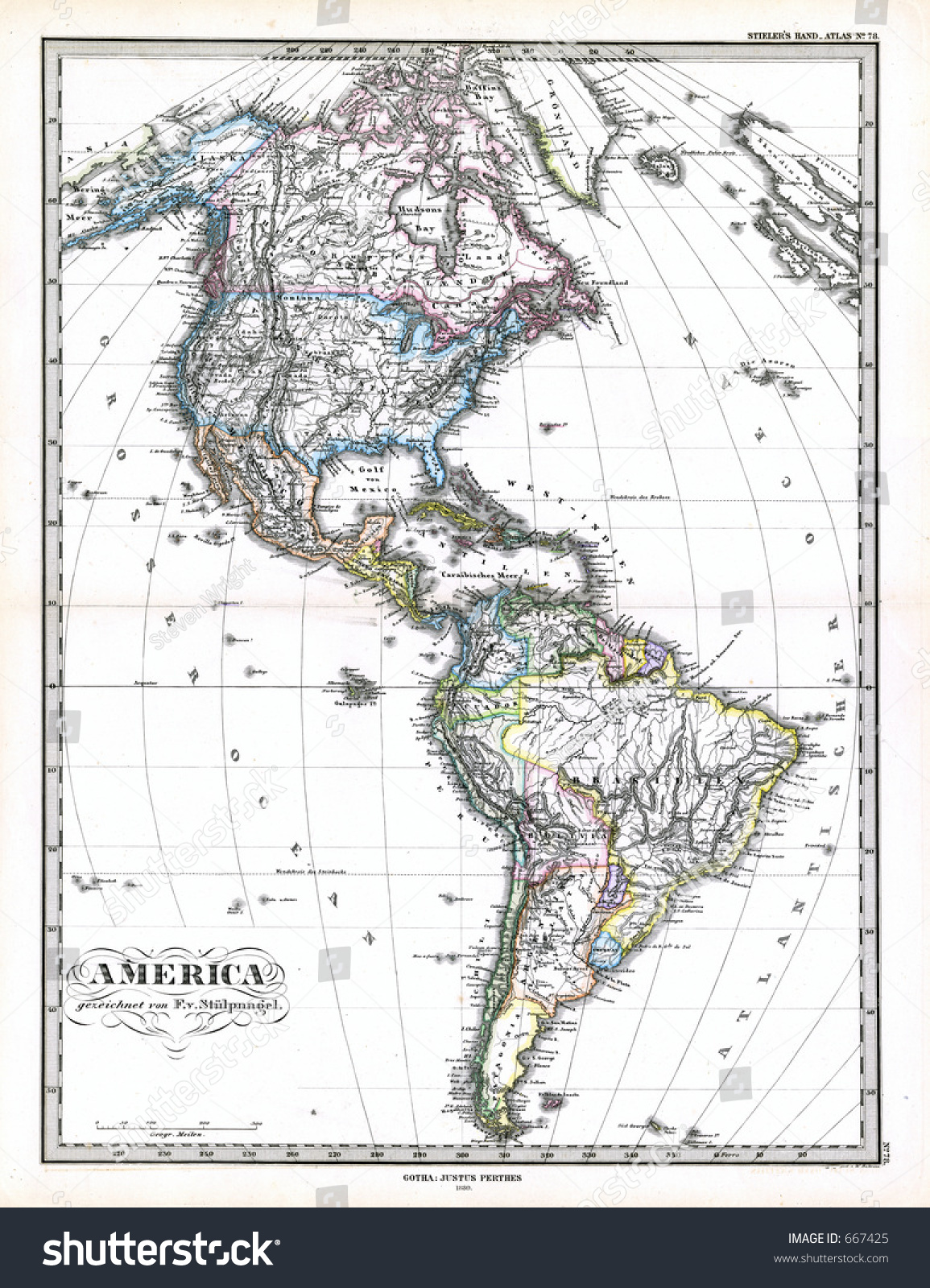 Antique Map North South America 1870 Stock Photo Royalty Free