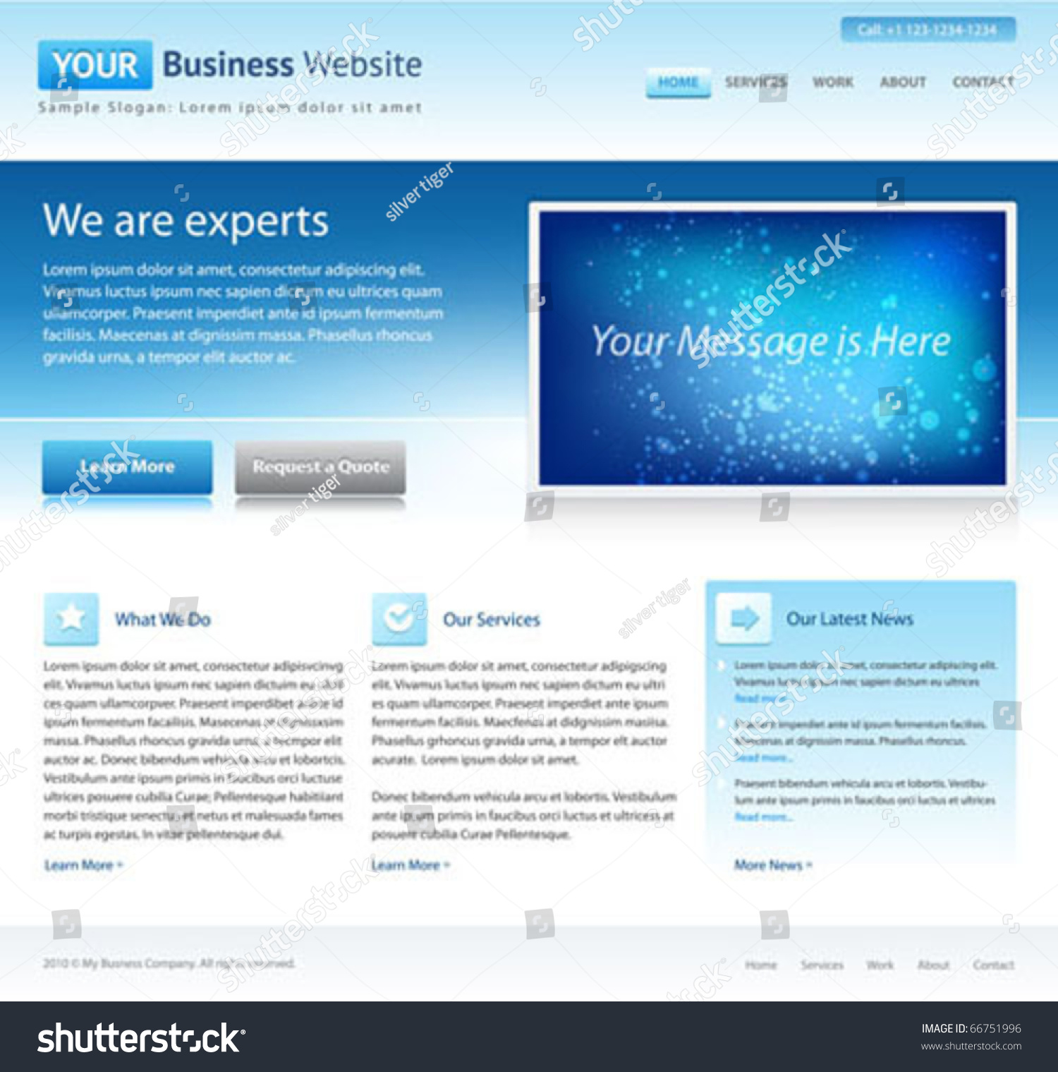 Blue business website template home page stock vector for Home design website free