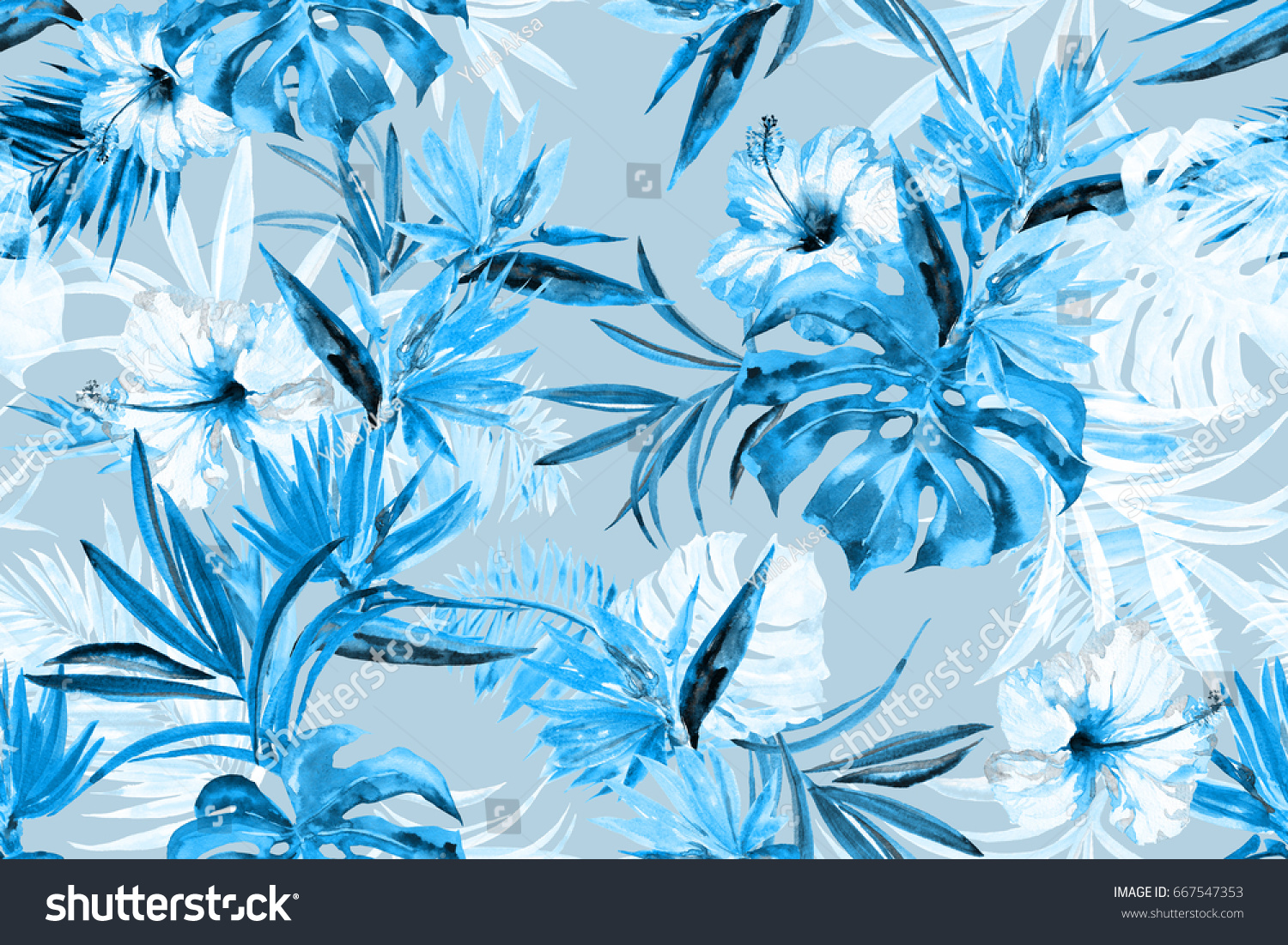 Floral blue mono color repeating tropical flowers blossom pattern watercolor painting background awesome flowers