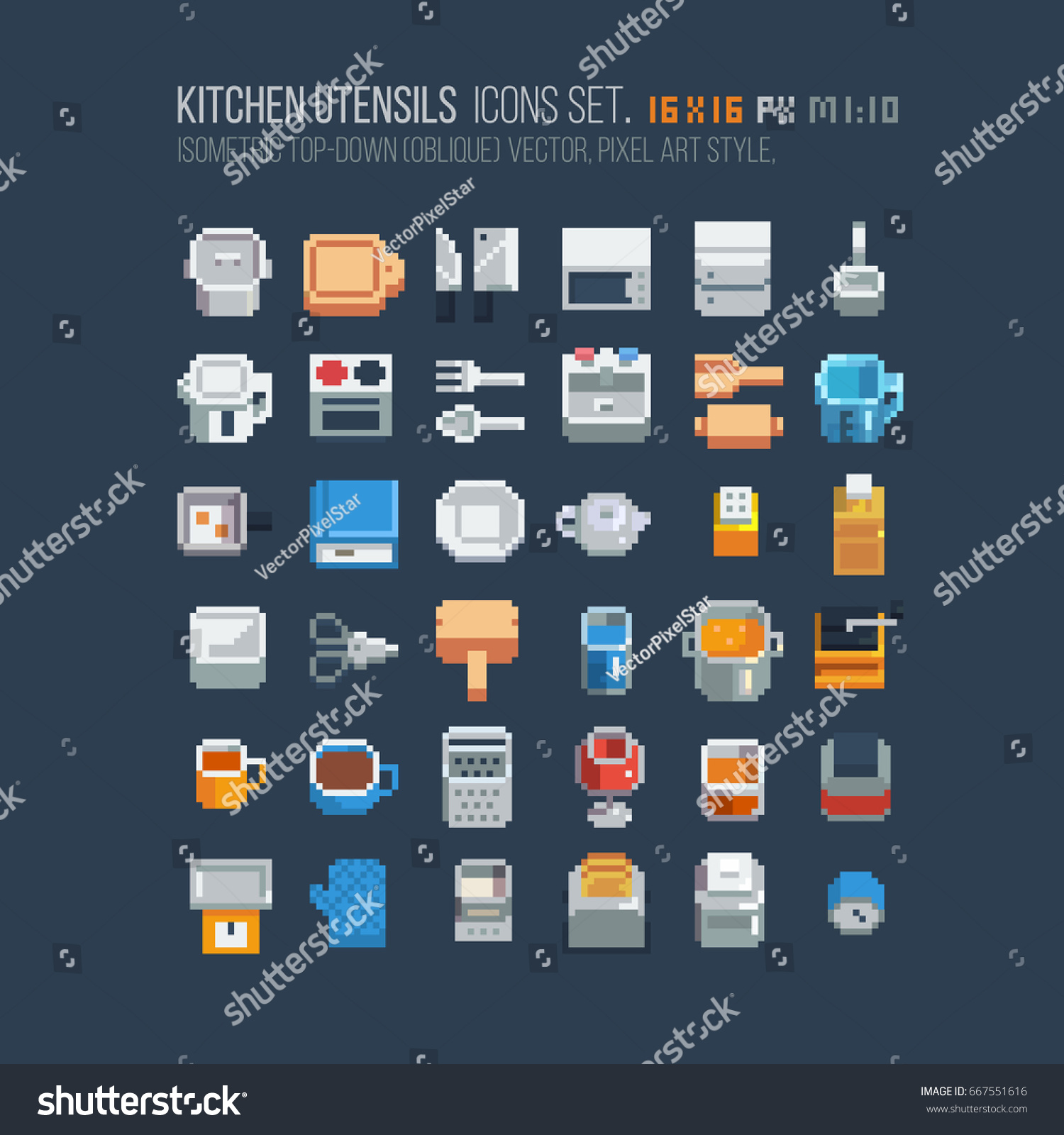 Isometric kitchen utensils icons 16x16 pixels stock vector for 16x16 kitchen designs