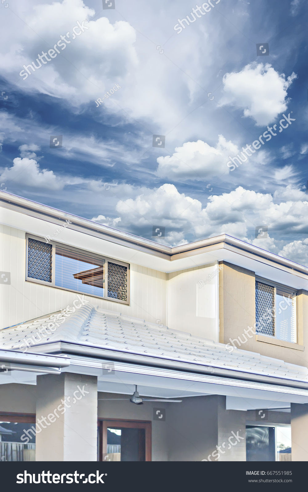 Front roofs and walls of modern house wall designs are beautiful sunlight around the
